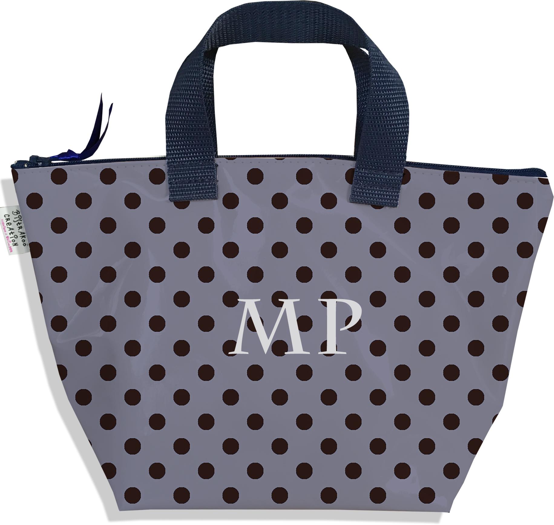 Sac à main zippé pour fille personnalisable motif Pois noirs fond gris P2057