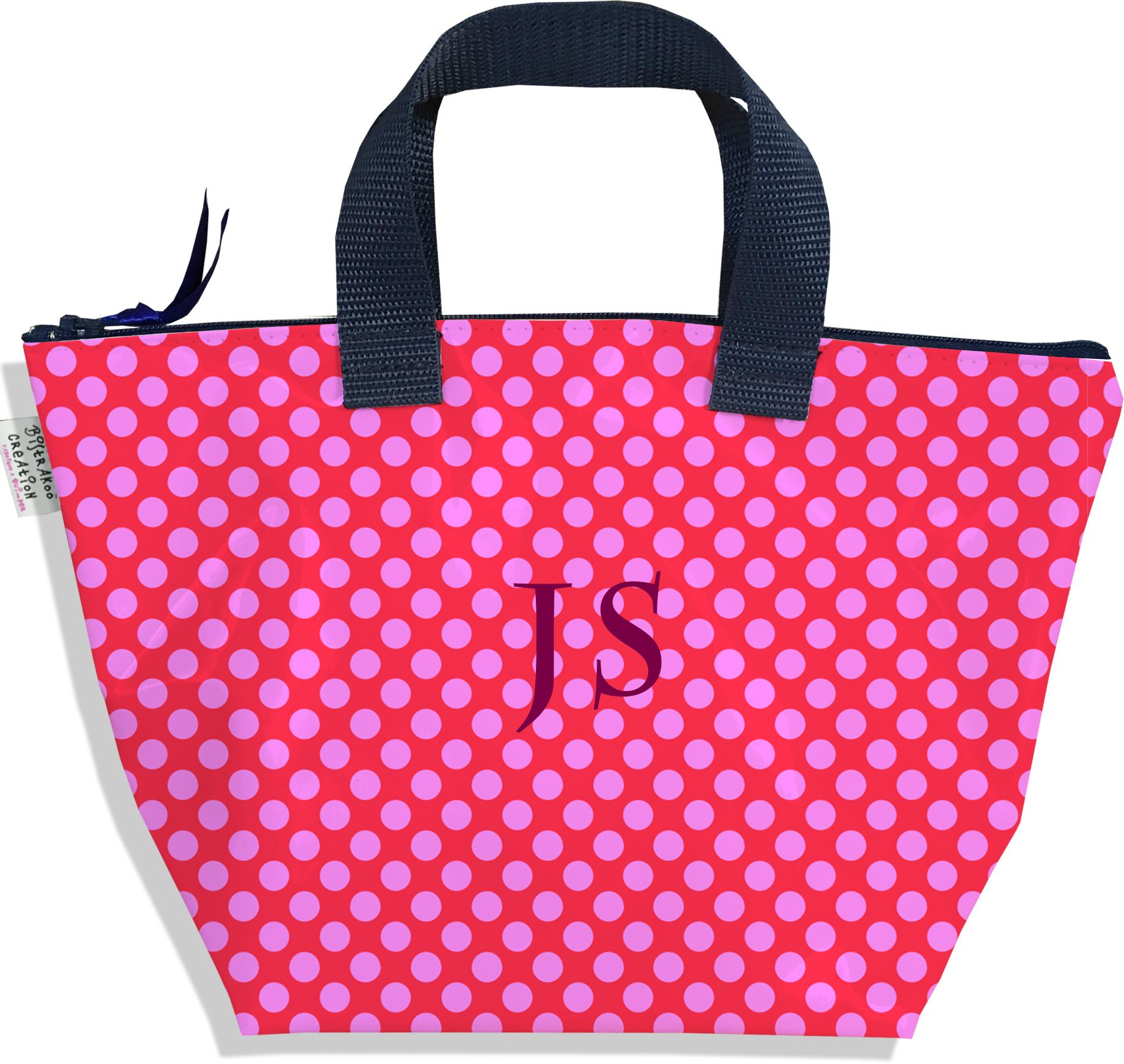 Sac à main zippé pour fille personnalisable motif Pois roses fond fushia P715