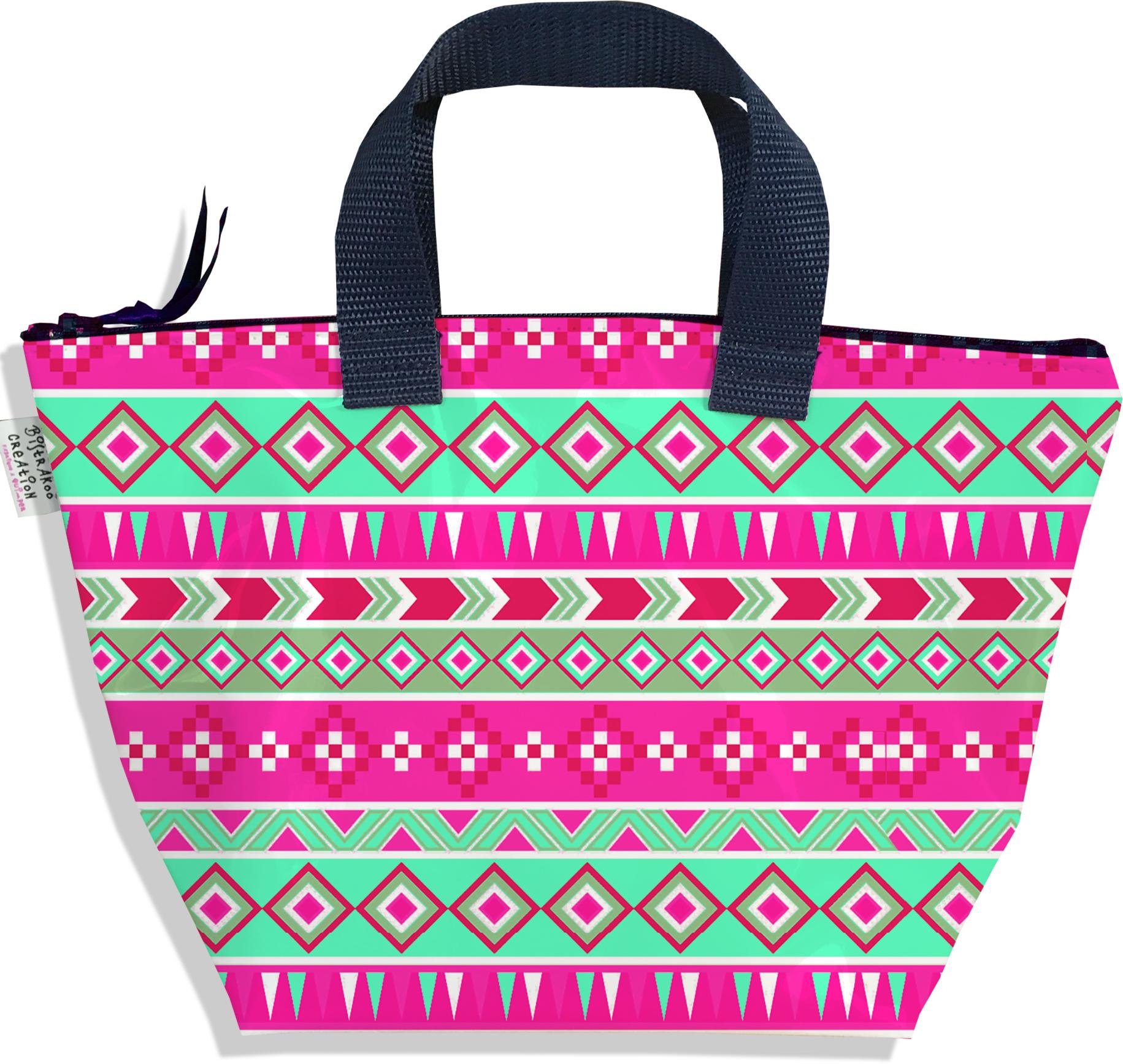 Sac à main zippé pour fille motif Aztec rose et vert 2317-2016