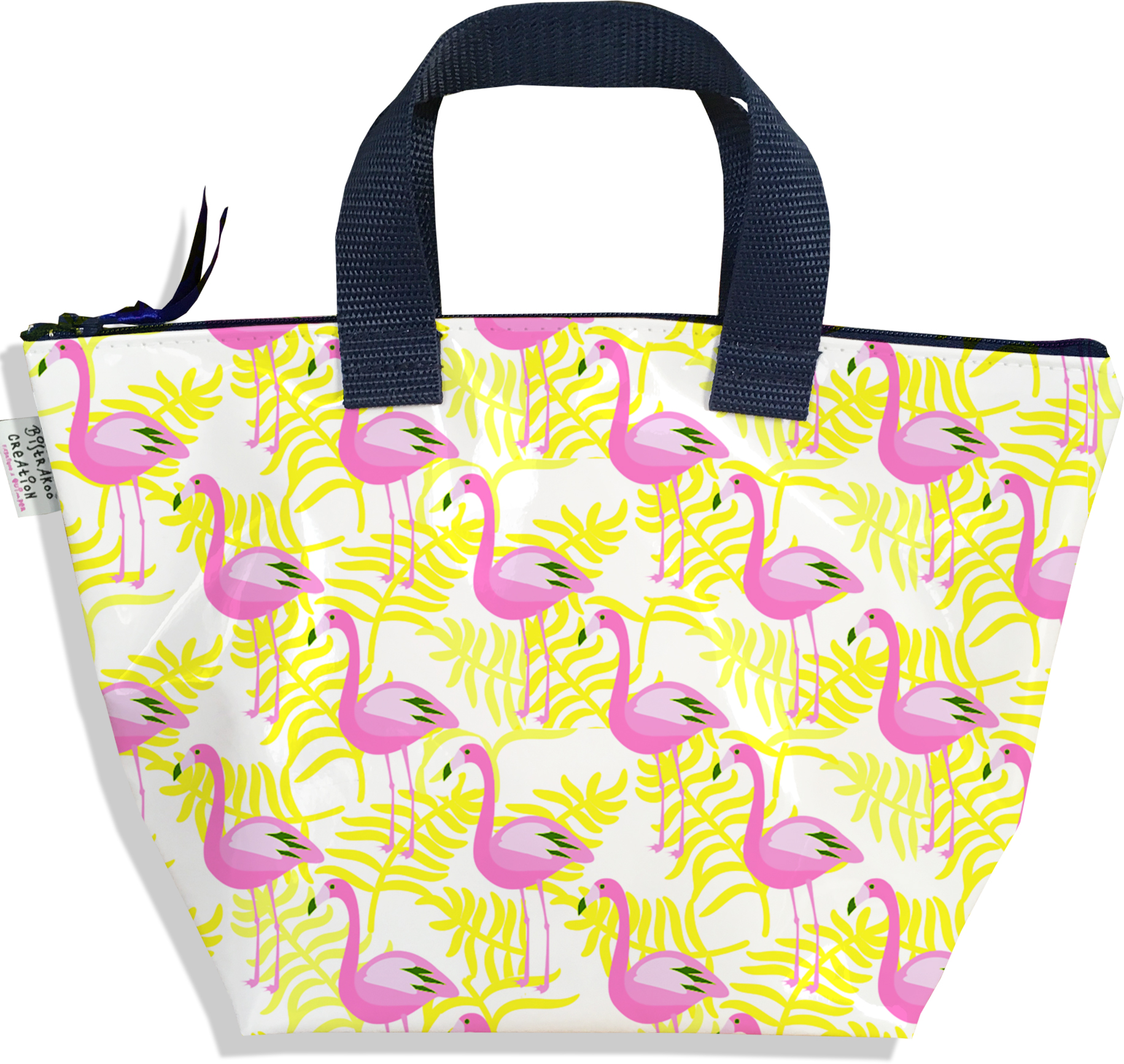 Sac à main zippé pour fille motif flamants roses et feuillage jaune 2541-2016