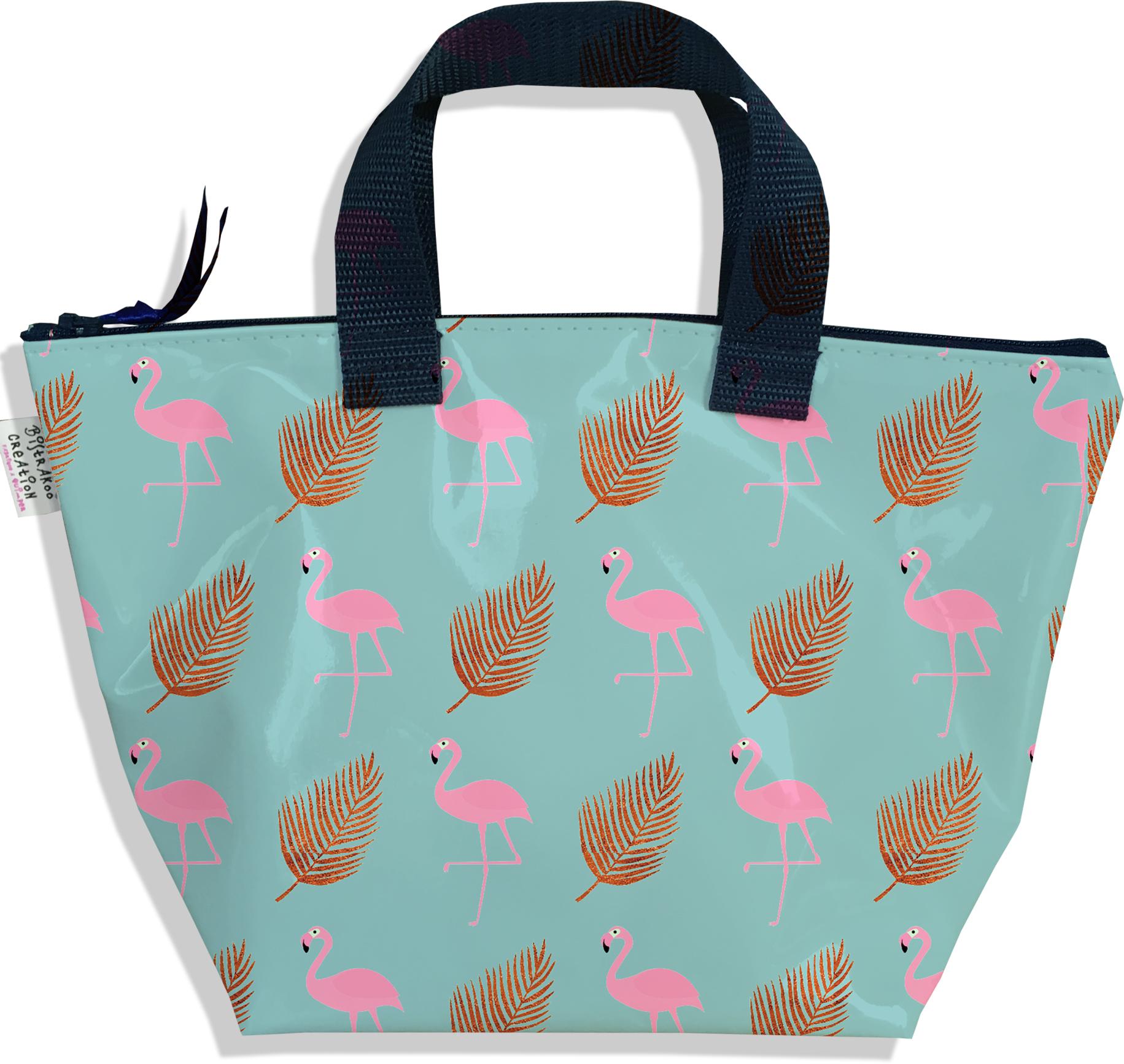 Sac à main zippé pour fille motif Flamants roses plume or 3219-2017
