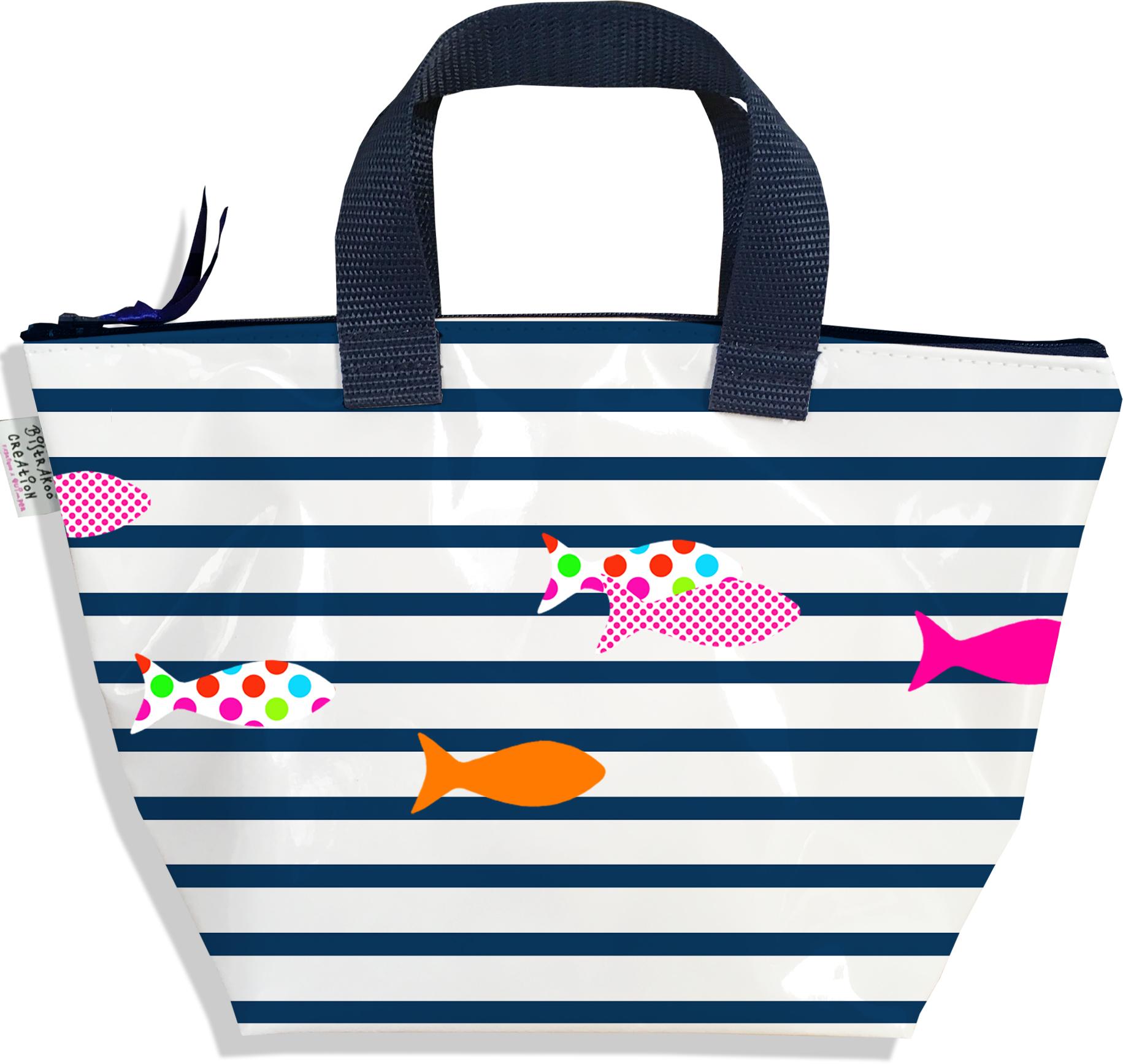 Sac à main zippé pour fille motif Marinière bleu marine et blanche poissons multicolores 2357-2016