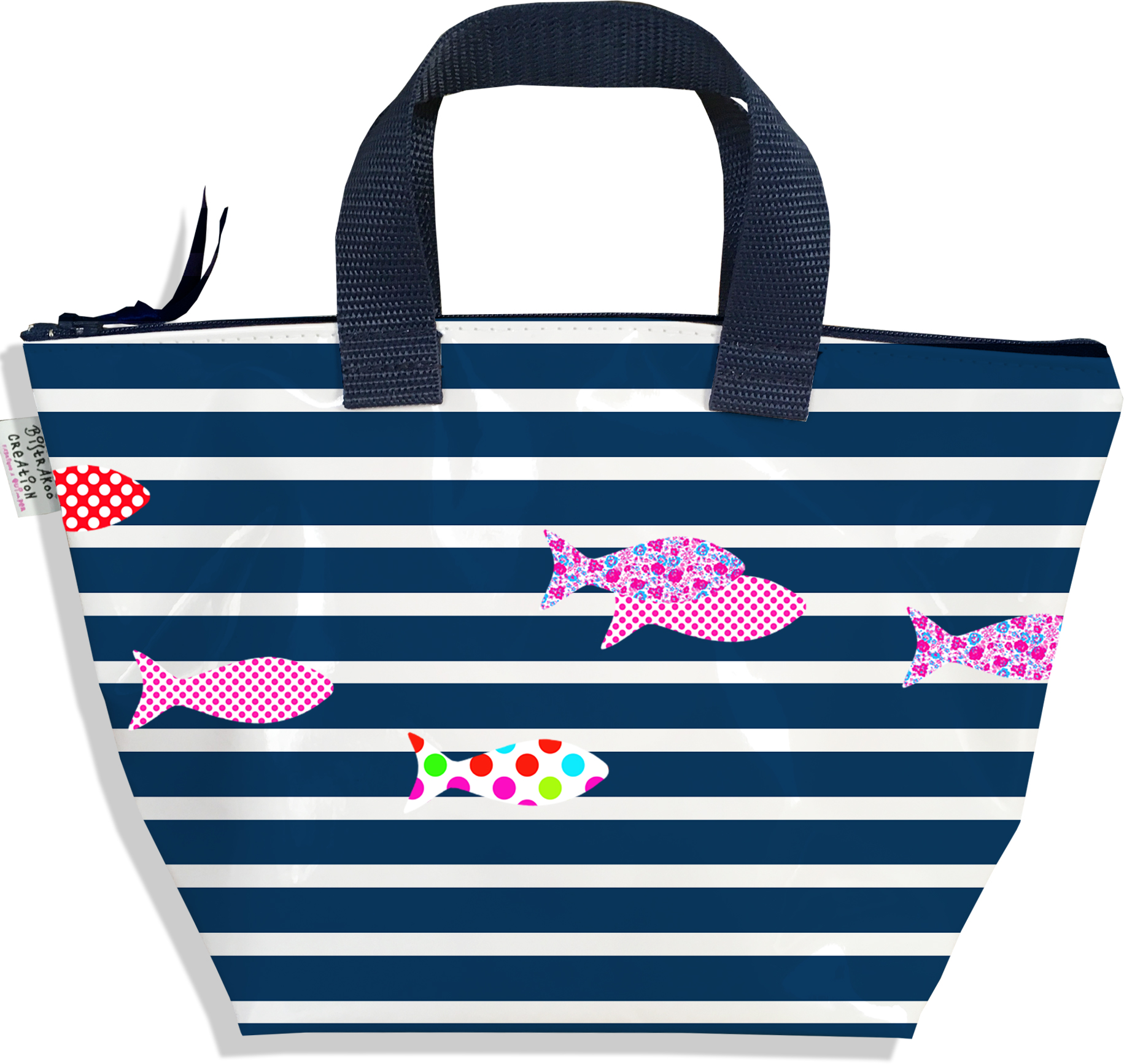 Sac à main zippé pour fille motif Marinière bleu marine poissons multicolores 2356-2016