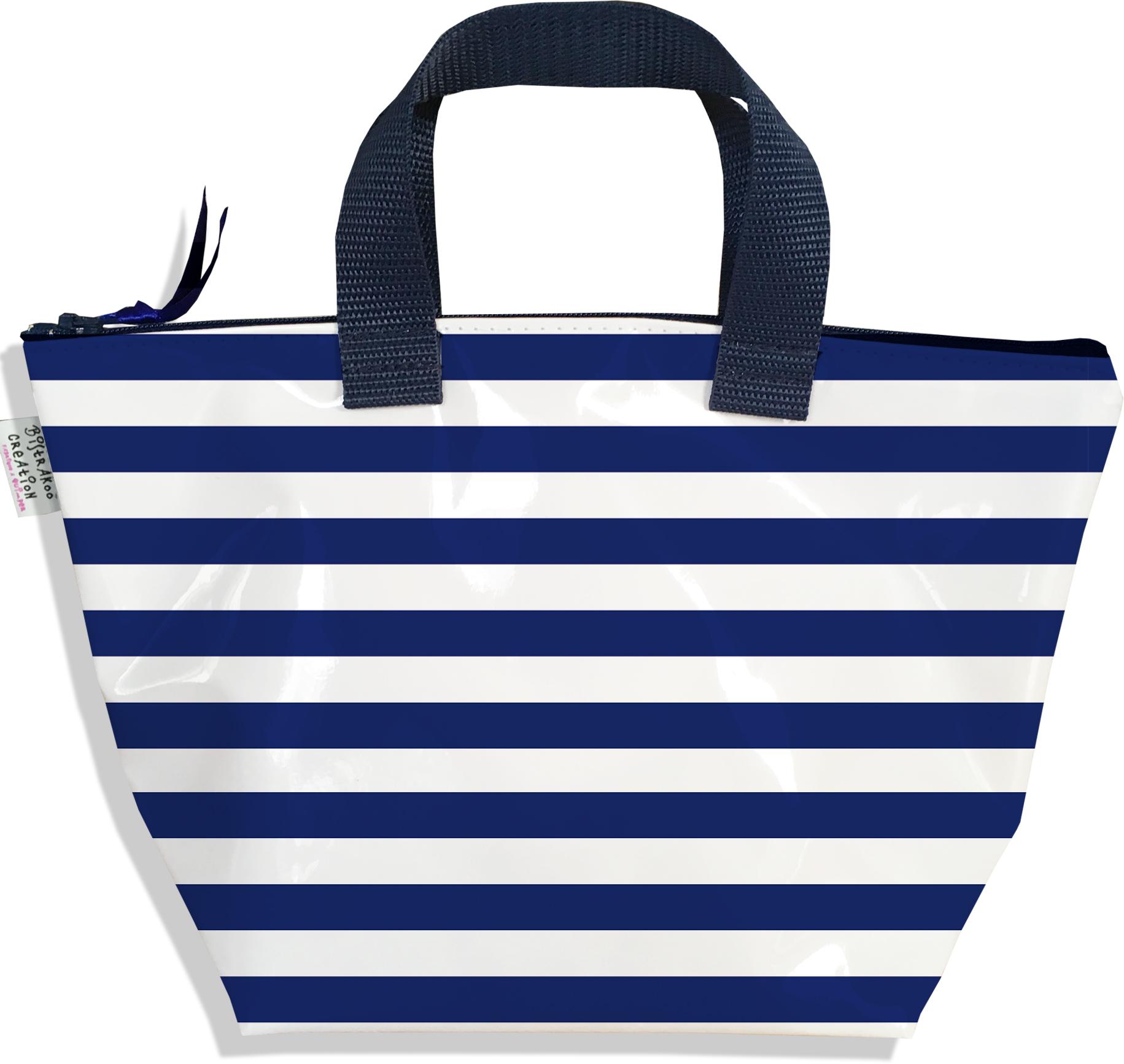 Sac à main zippé pour fille motif Marinière bleu marine 2377-2016