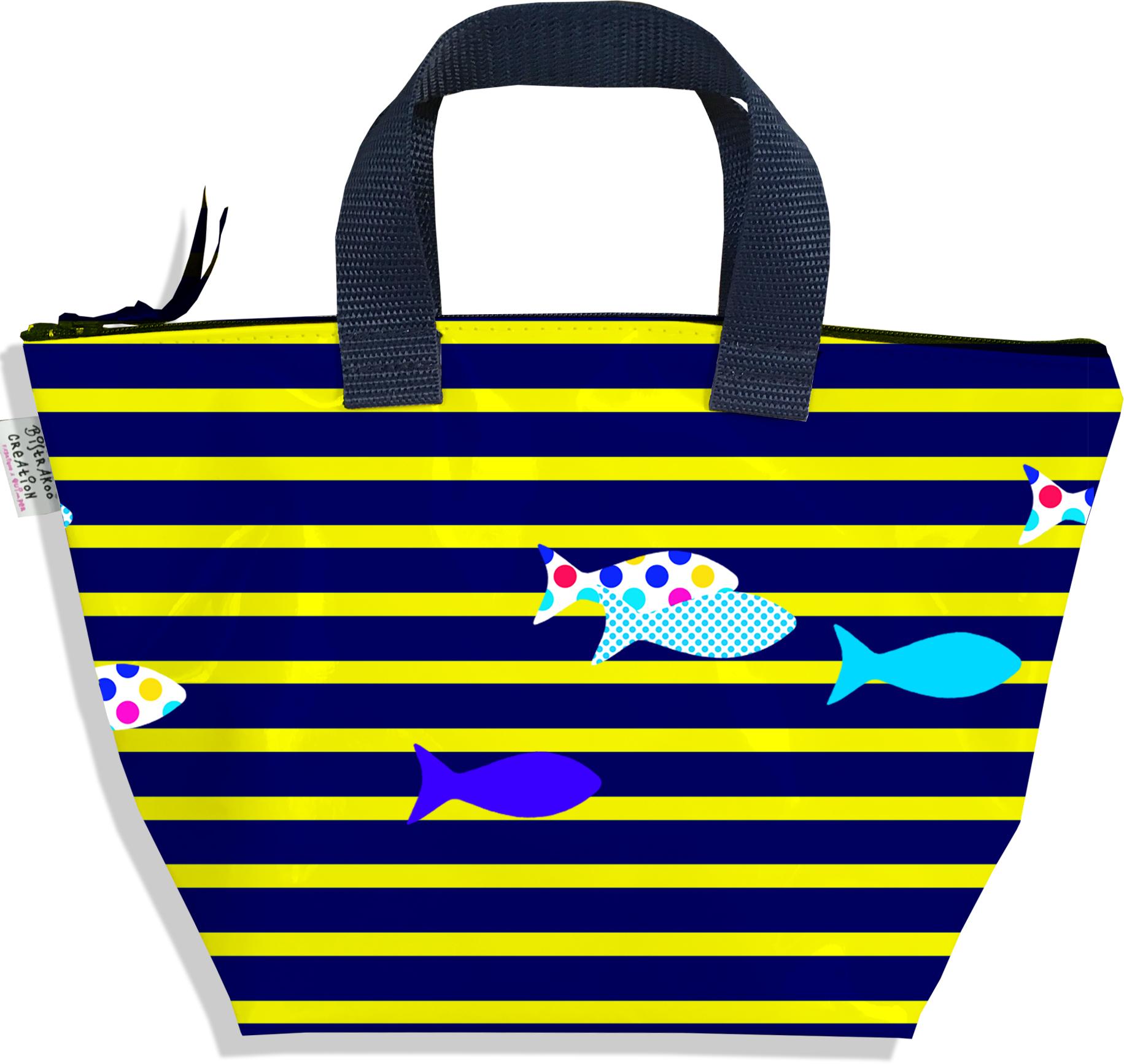 Sac à main zippé pour fille motif Marinière bleue et jaune poissons multicolores 2433-2016