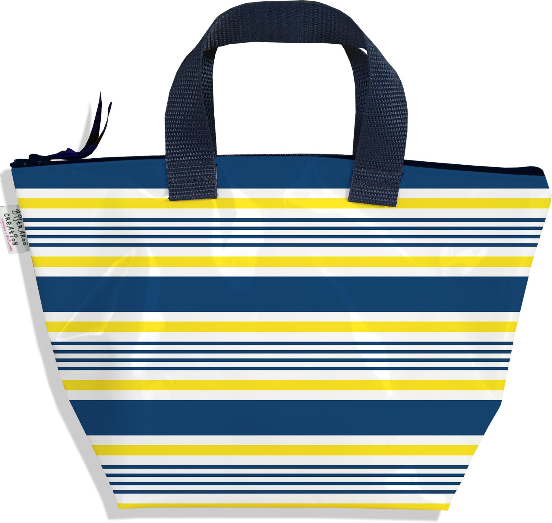 Sac à main zippé pour fille motif Marinière bleue et jaune 3018-2017