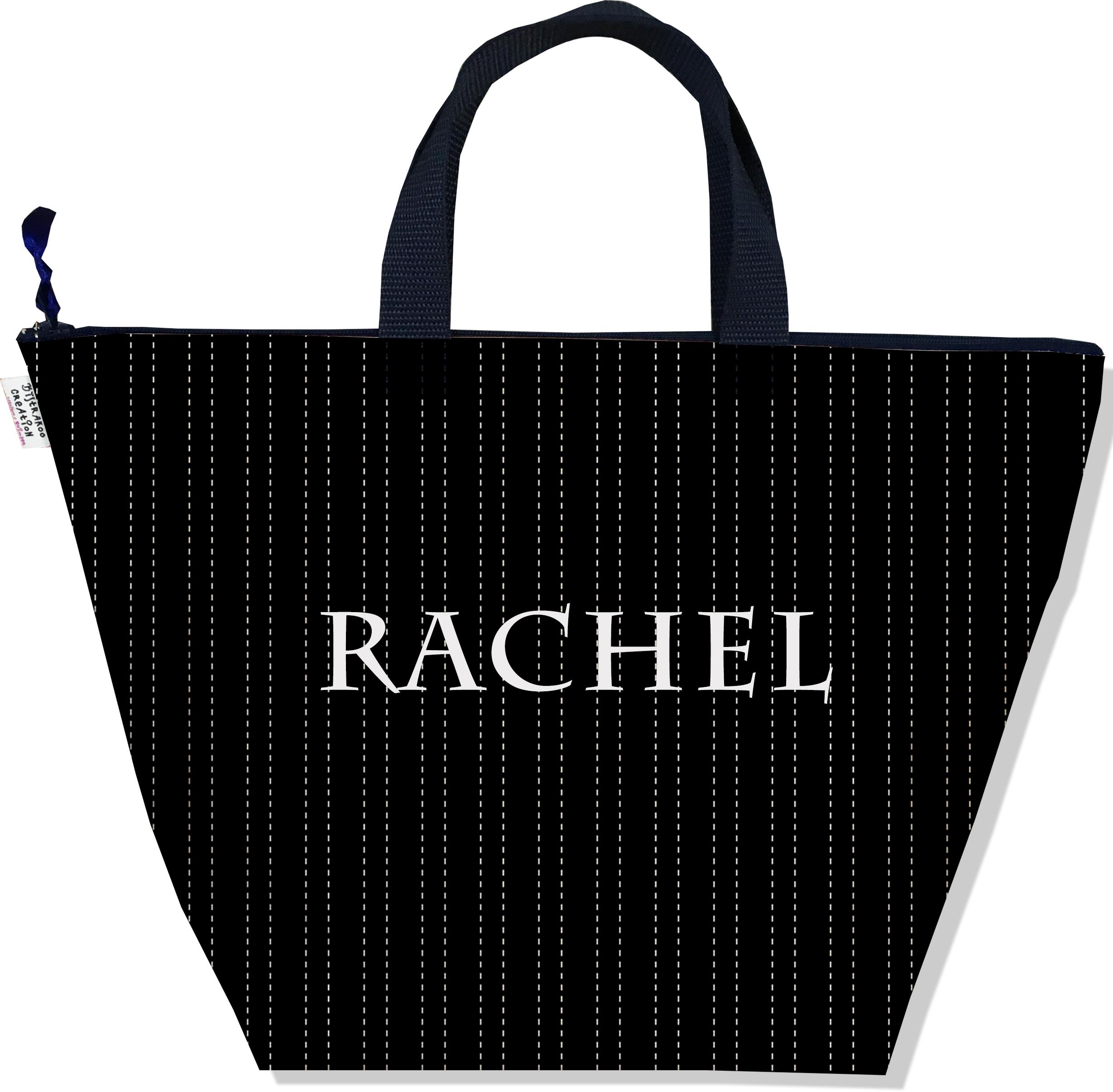 Sac à main zippé pour femme personnalisable motif Pointillés blancs fond noir P2158