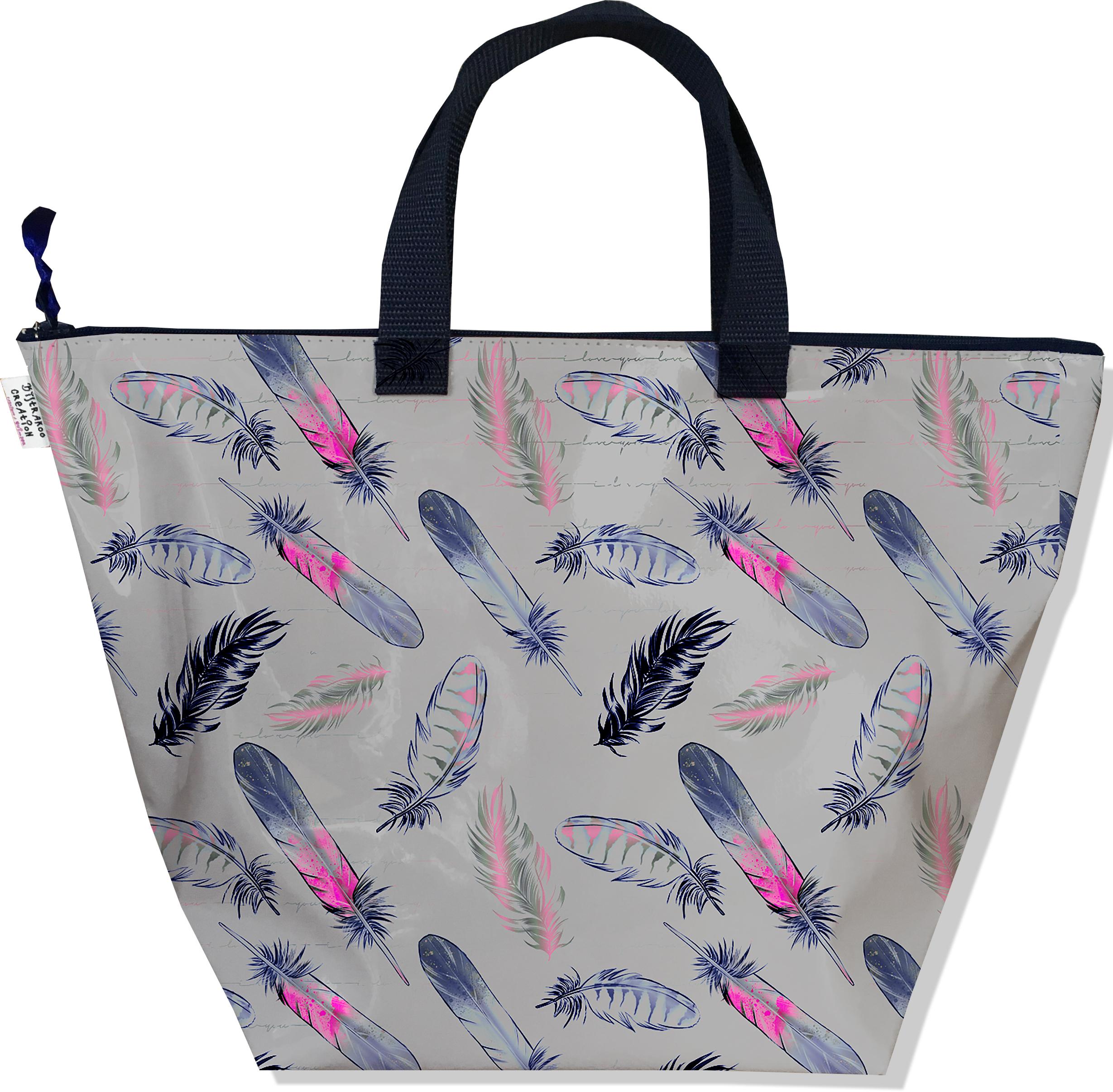 Sac à main zippé pour femme motif Plumes bleu marine et rose fond gris 3237