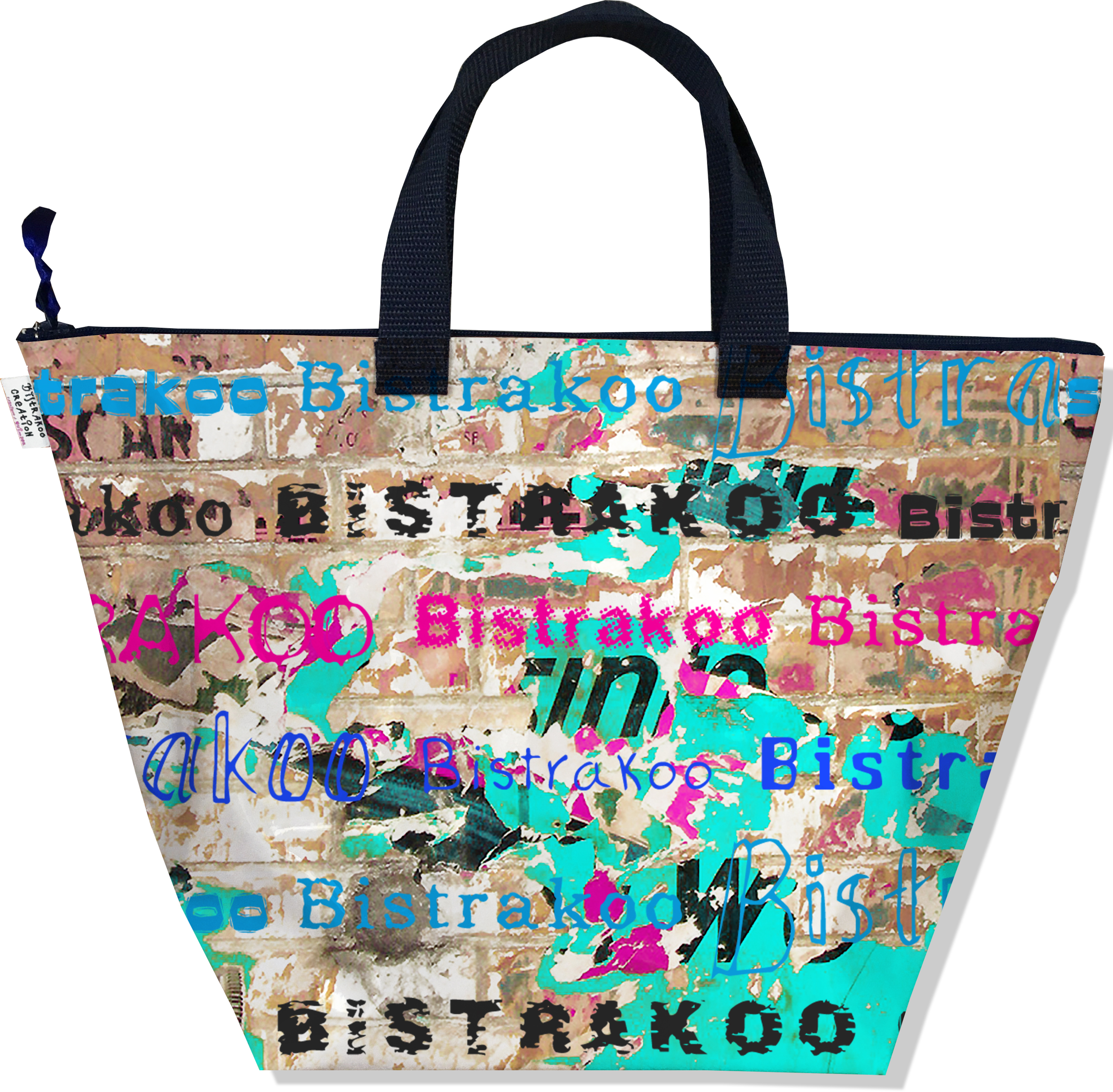 Sac à main zippé pour femme motif Street art Bistrakoo 2291