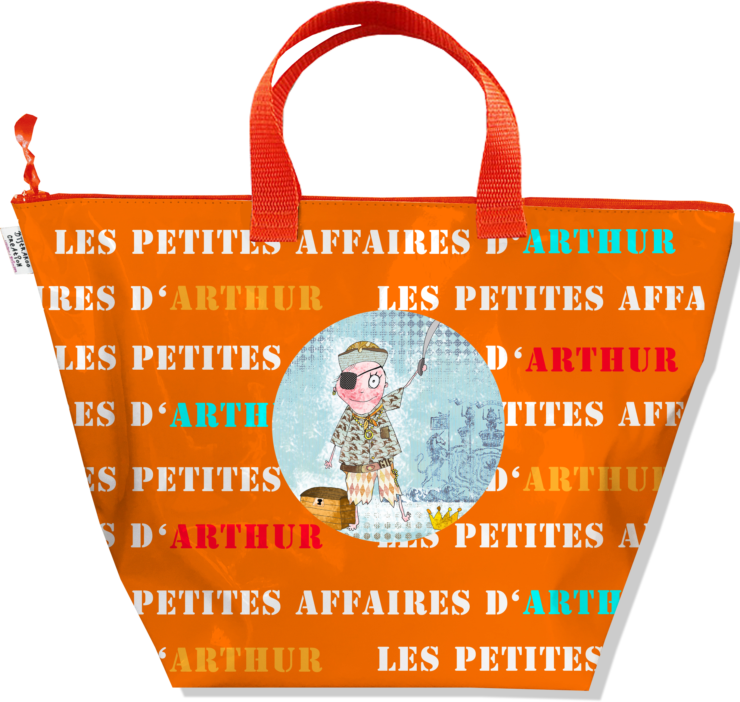 Sac à main personnalisable Garçon, Sac rangement petites affaires de mon bébé Coloris orange N0308