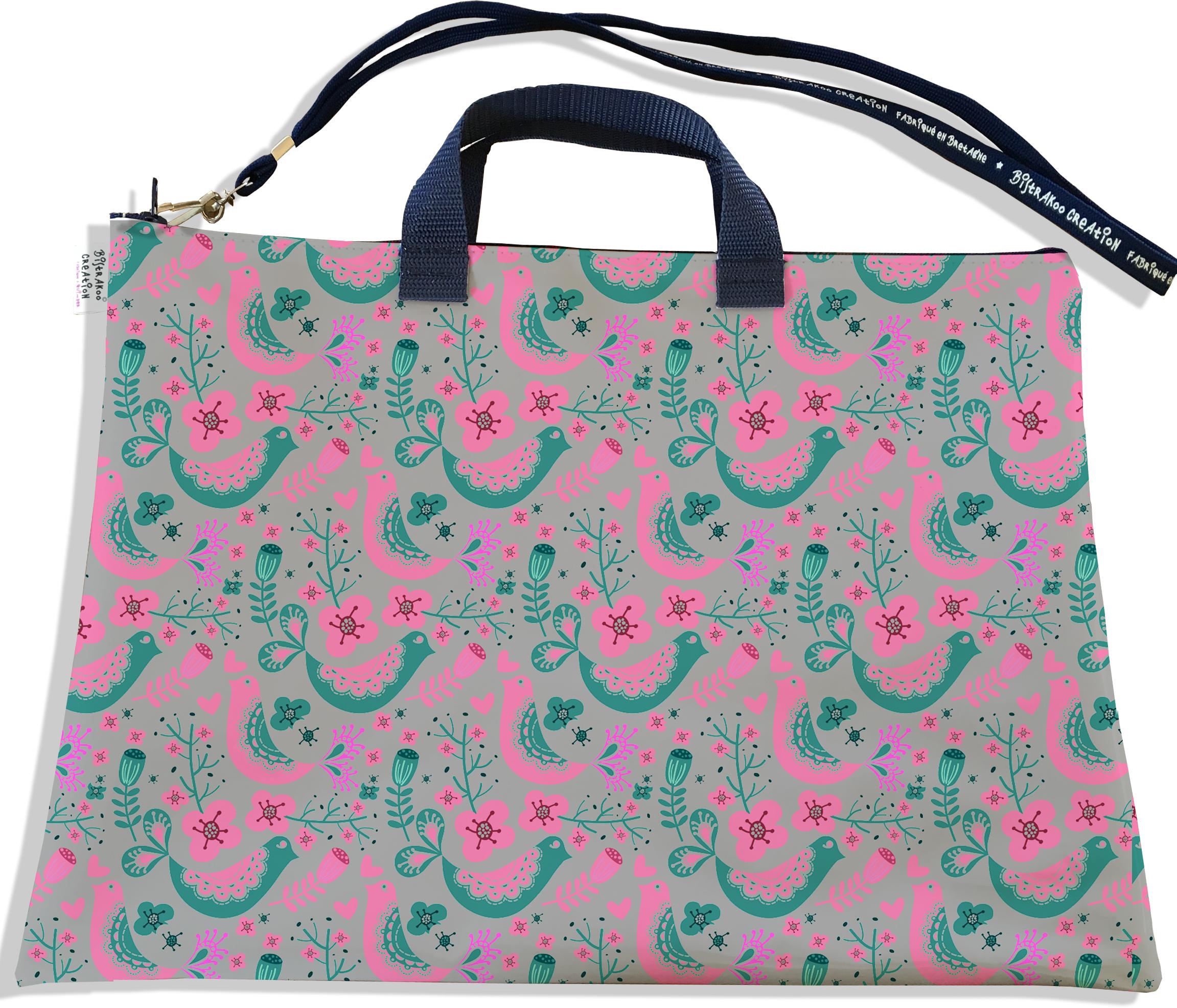 Sacoche ordinateur portable 11 & 13 pouces pour femme motif Scandinave rose et vert fond gris 3231