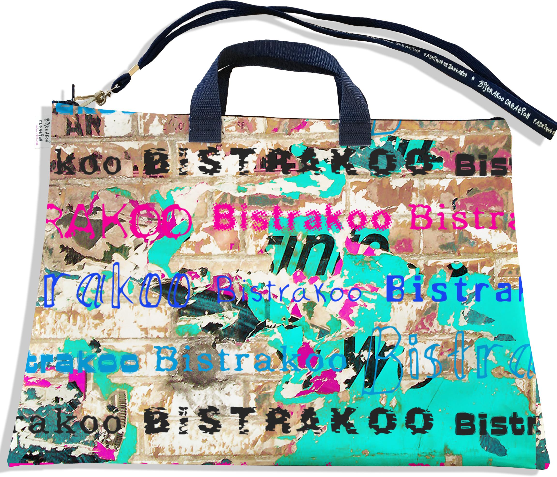 Sacoche ordinateur portable 11 & 13 pouces pour femme motif Street art multicolore Bistrakoo 2291