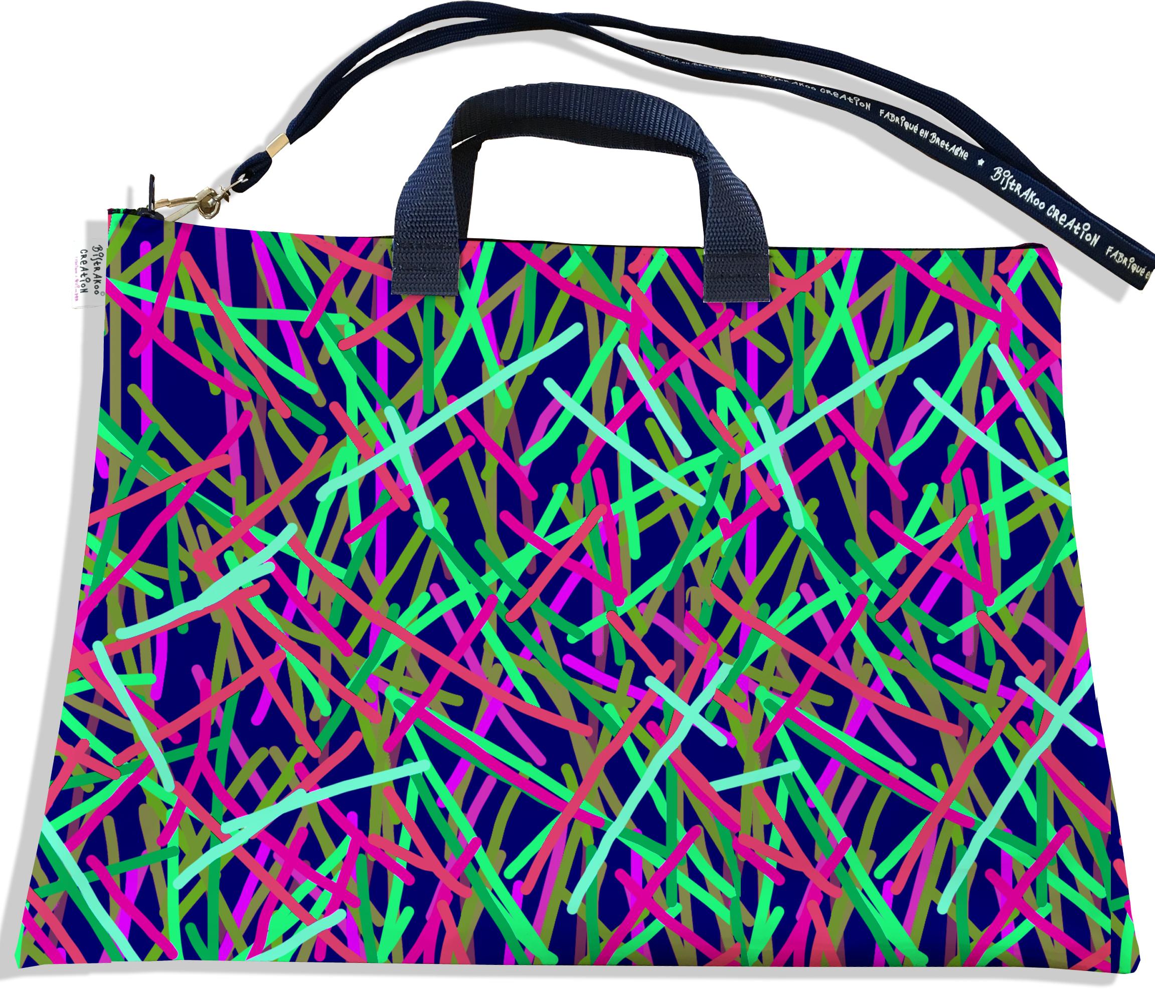 Sacoche ordinateur portable 11 & 13 pouces pour femme motif Traits multicolores fond bleu marine 2589