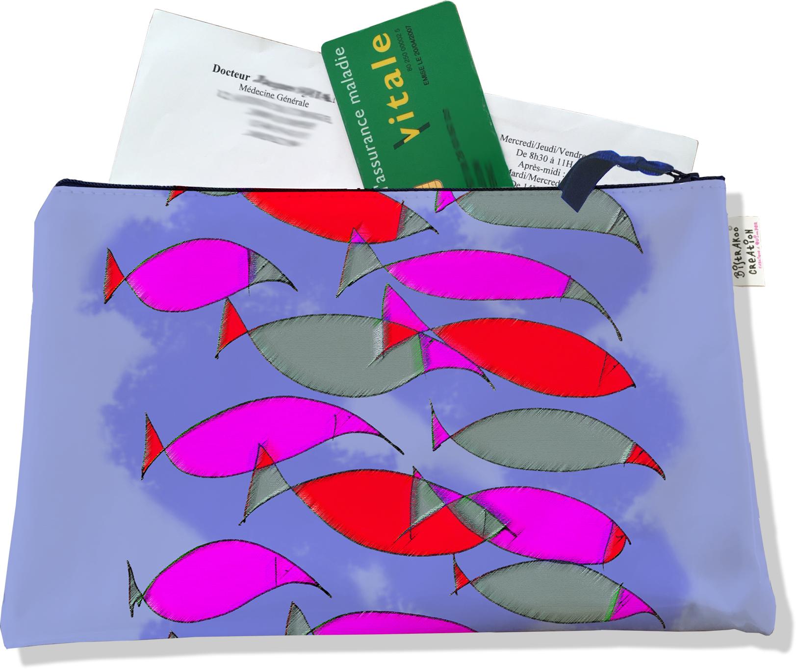 Porte ordonnances zippé pour femme motif Banc de poissons