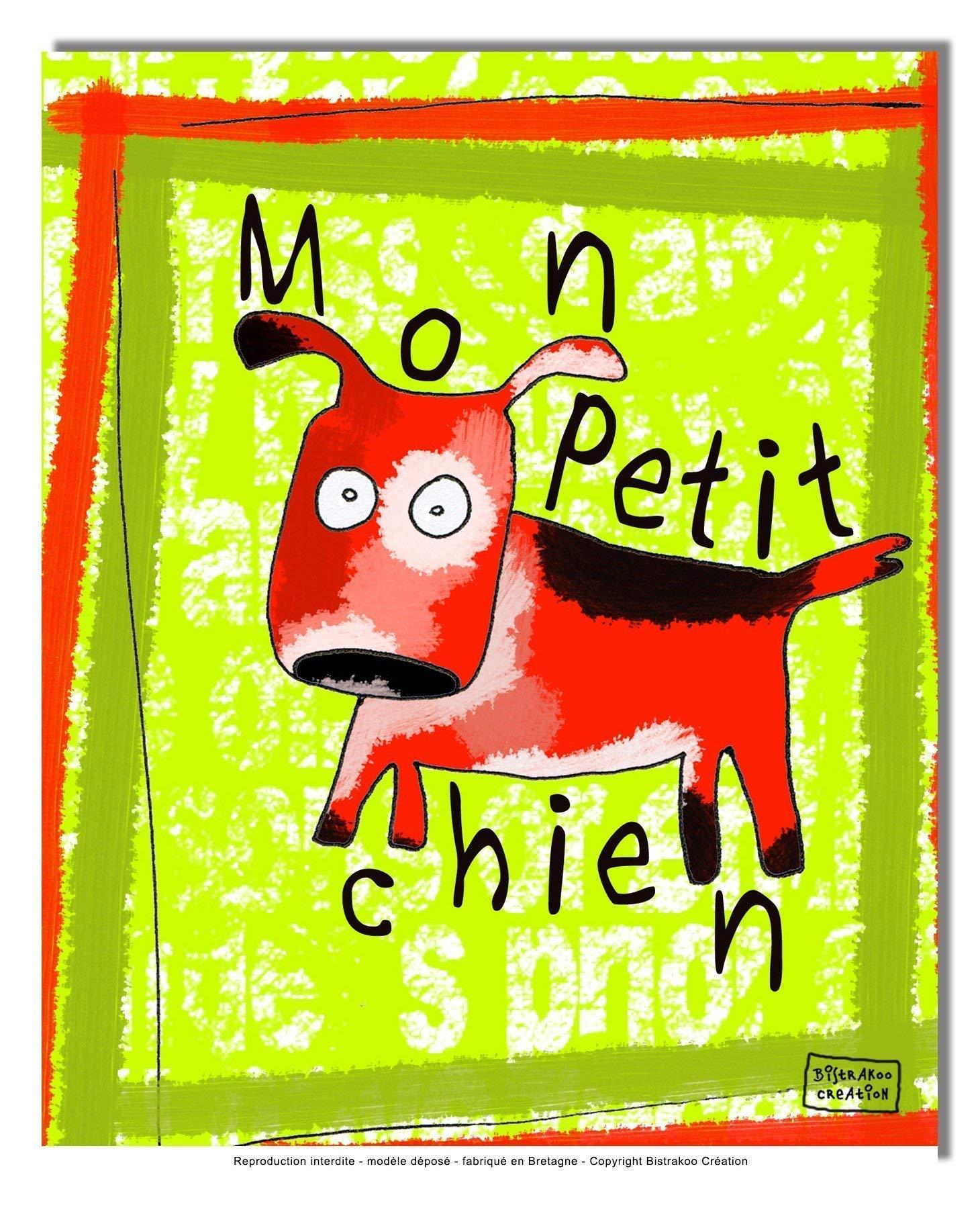Tableau décoratif pour chambre de bébé enfant, montée sur châssis en bois, dim. l. 30 x H. 40 cm - Mon petit chien