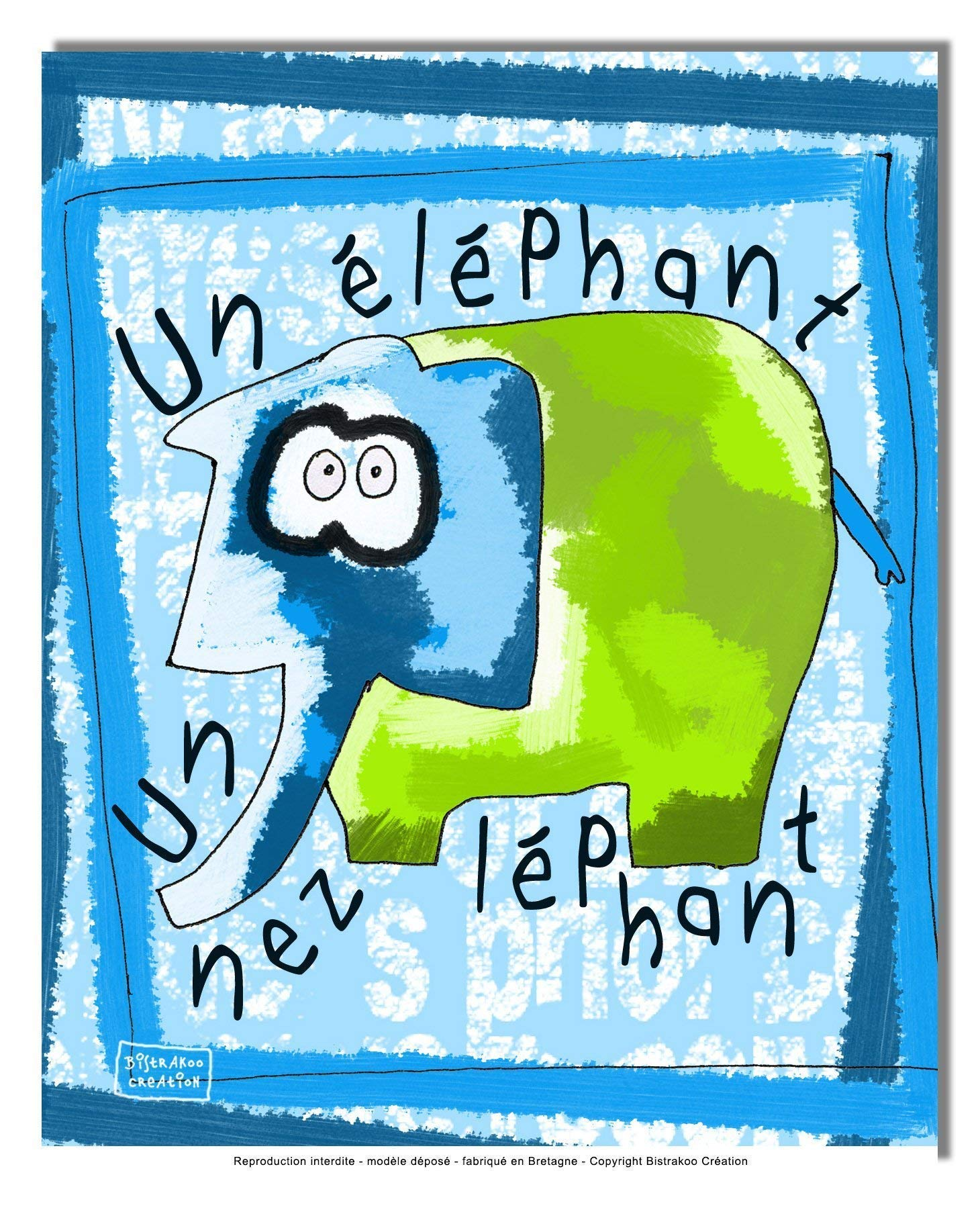 Tableau décoratif pour chambre de bébé enfant, montée sur châssis en bois, dim. l. 30 x H. 40 cm - Un éléphant