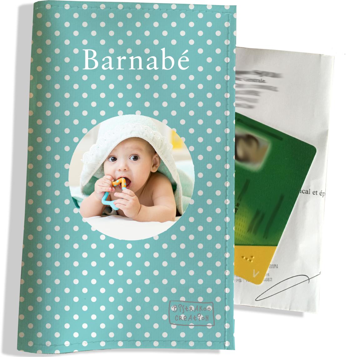 Porte ordonnance personnalisable pour bébé garçon Enfant - photo et texte de votre choix (P2067-2015-photo)