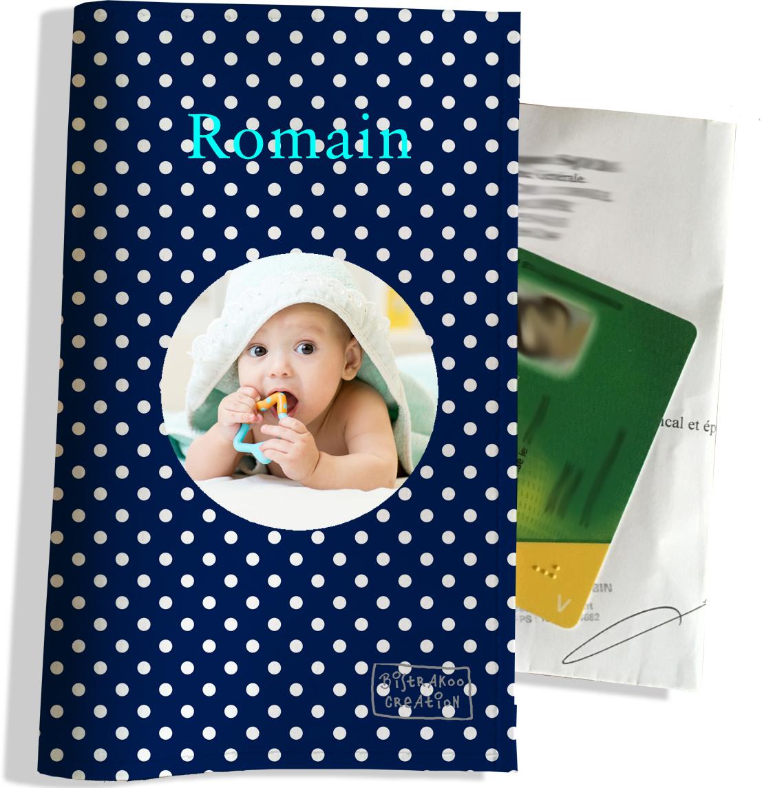 Porte ordonnance personnalisable pour bébé garçon Enfant - photo et texte de votre choix (P2099-2015-photo)