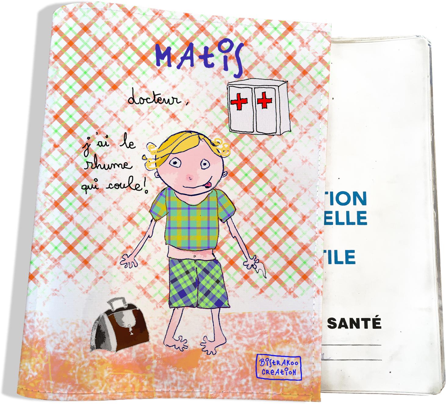 Protège carnet de santé personnalisé bébé garçon motif docteur j\'ai le rhume qui coule