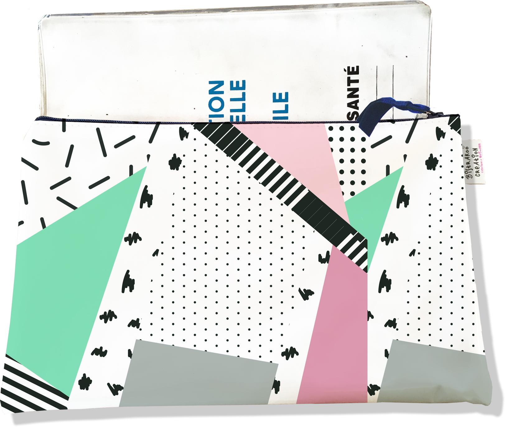 Protège carnet de santé zippé pour femme motif Graphique 6009-2019