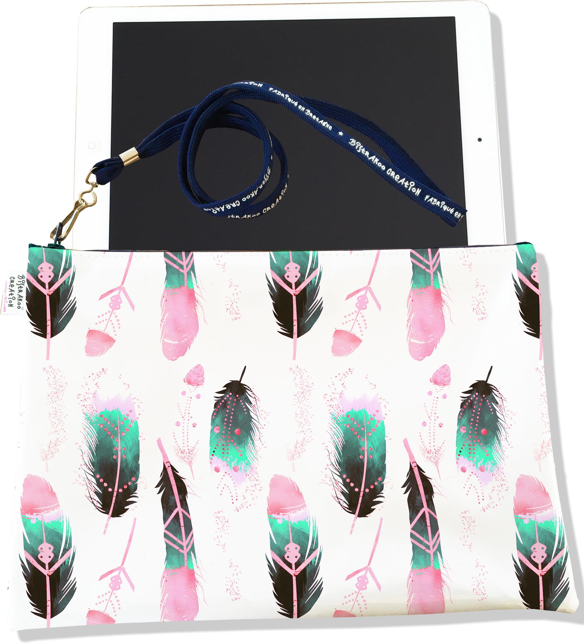 Housse pour tablette pour femme motif Plumes multicolores H6000-2019