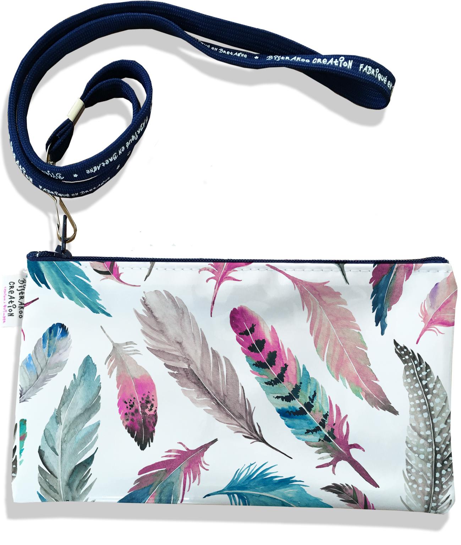 Pochette smartphone 5 & 6 pouces femme motif Plumes multicolores P6003-2019