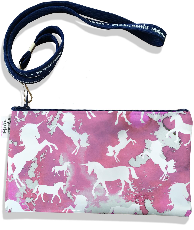 Pochette smartphone 5 & 6 pouces femme motif Licorne rose P6006-2019