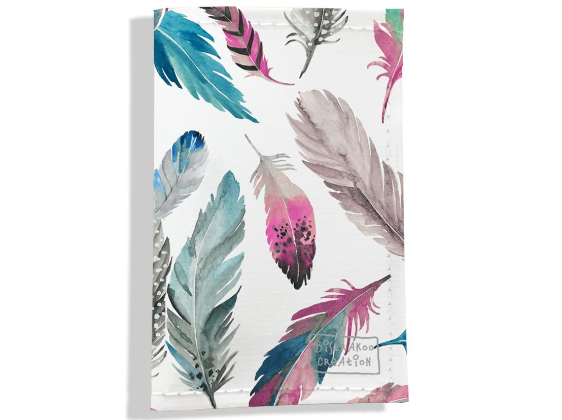 Porte carte grise, Porte carte de transport pour femme motif Plumes multicolores PPV6003-2019