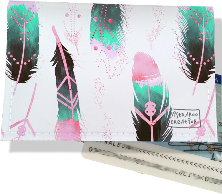 Porte-carte d\'identité pour femme motif Plumes multicolores CI6000-2019