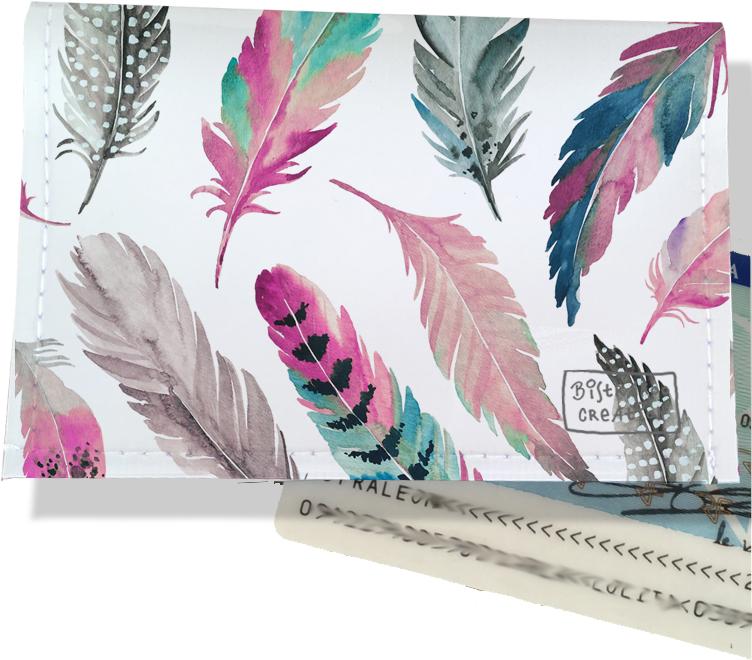Porte-carte d\'identité pour femme motif Plumes multicolores CI6003-2019