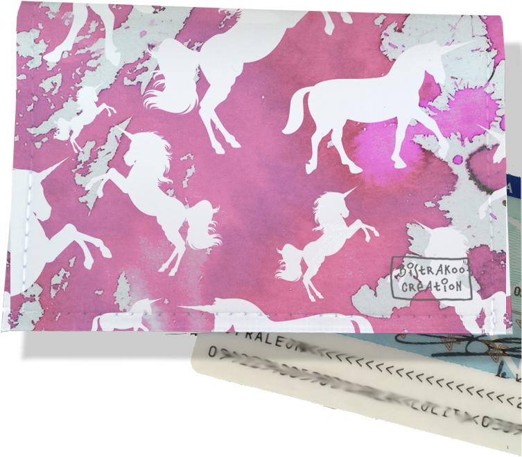 Porte-carte d\'identité pour femme motif Licorne rose CI6006-2019