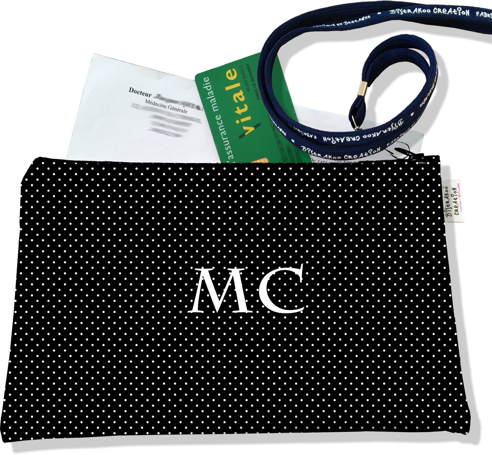 Porte ordonnances personnalisable zippé femme motif Pois