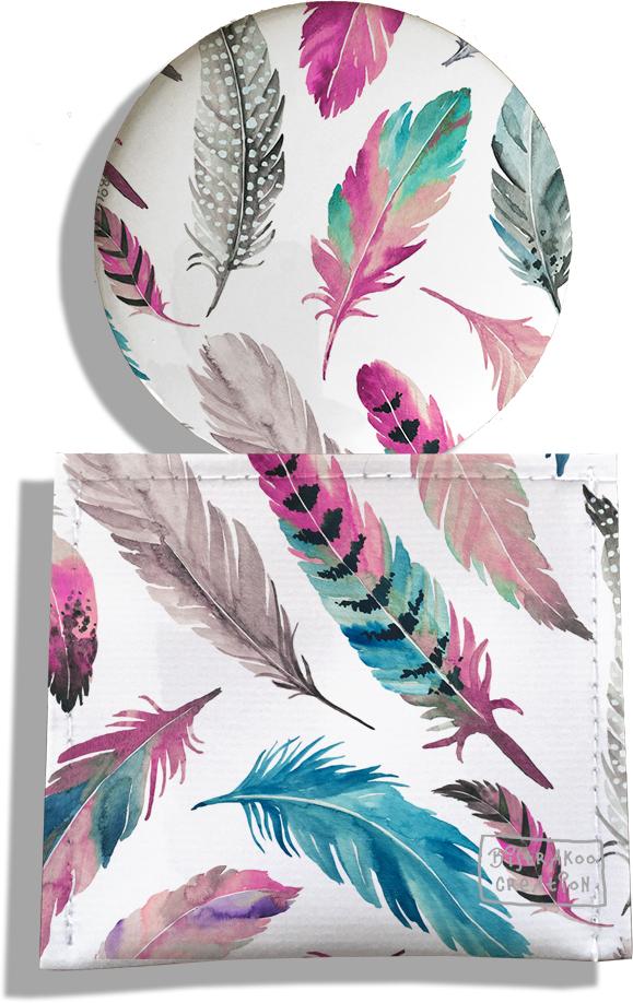 Miroir de Poche avec étui, Miroir de Maquillage pour femme motif Plumes multicolores MP6003-2019