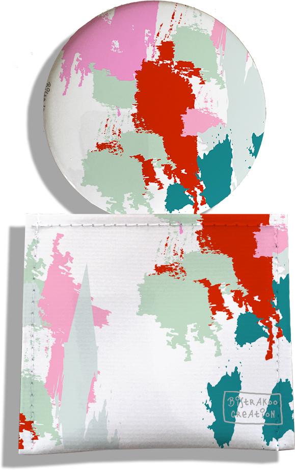 Miroir de Poche avec étui, Miroir de Maquillage pour femme motif Taches Peinture multicolores MP6005-2019