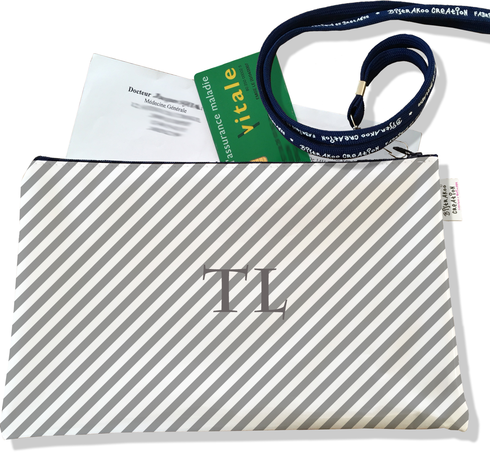 Porte ordonnances personnalisable zippé pour femme motif Rayures