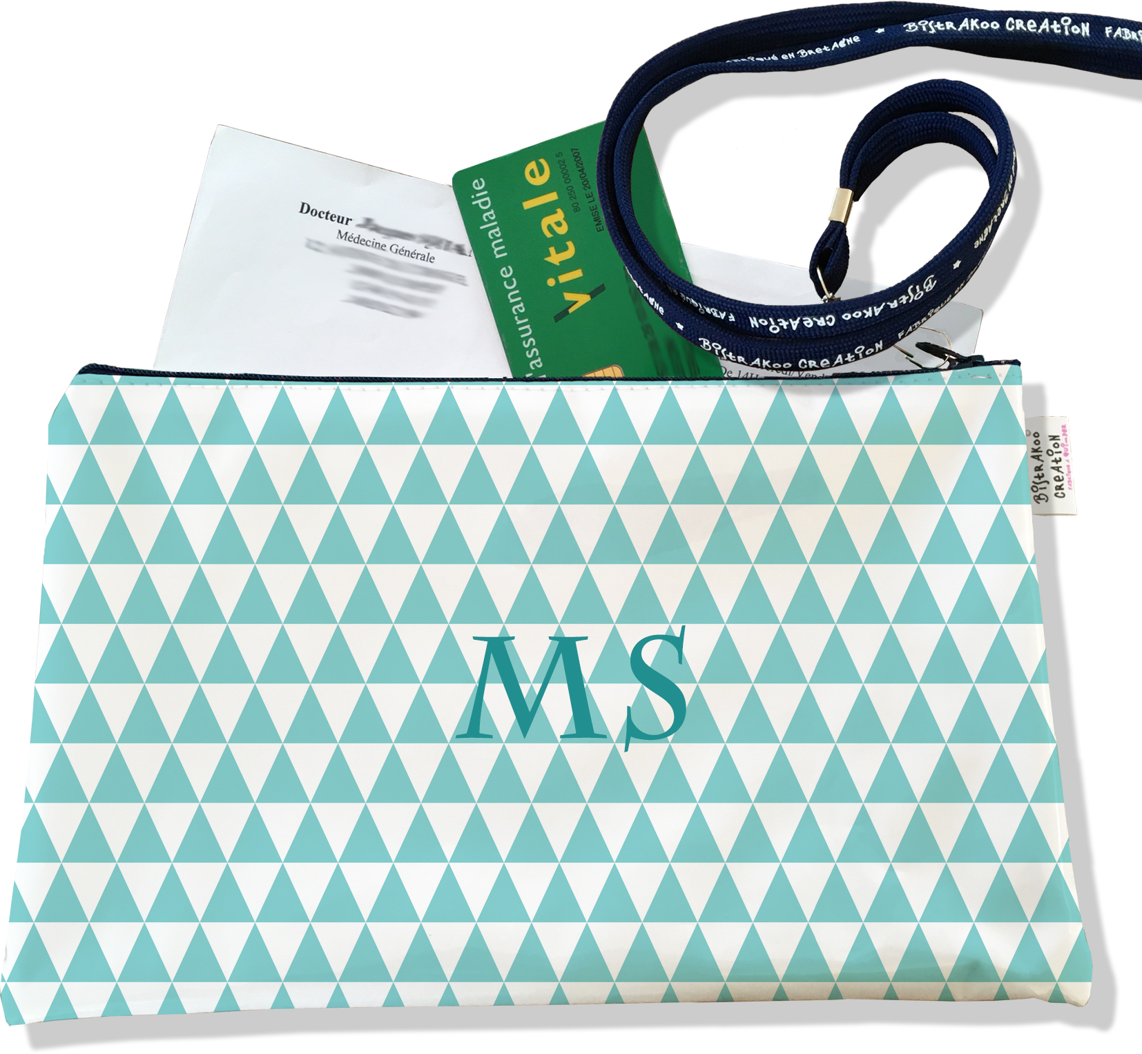 Porte ordonnances personnalisable zippé pour femme motif Graphique