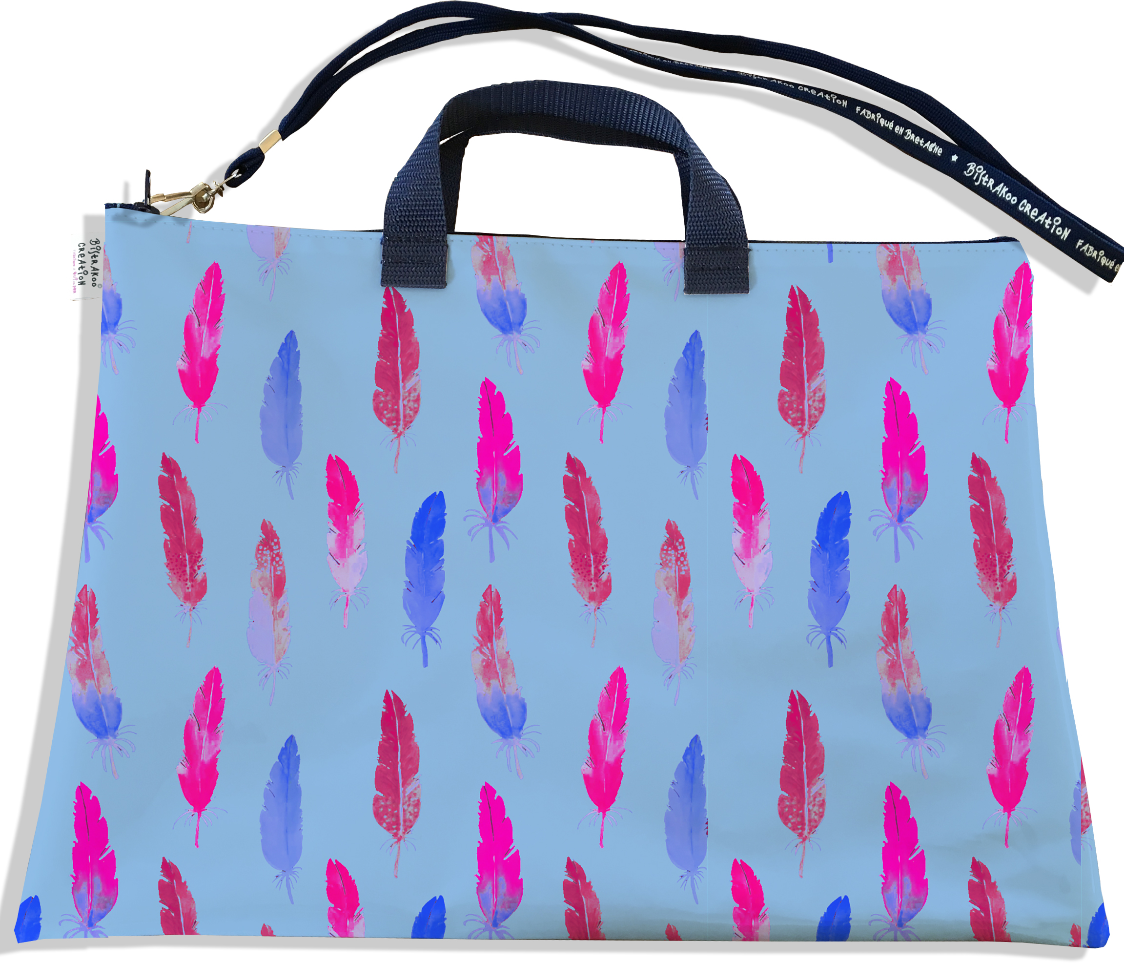 Sacoche ordinateur portable 11 & 13 pouces pour femme motif Plumes multicolores SO5103
