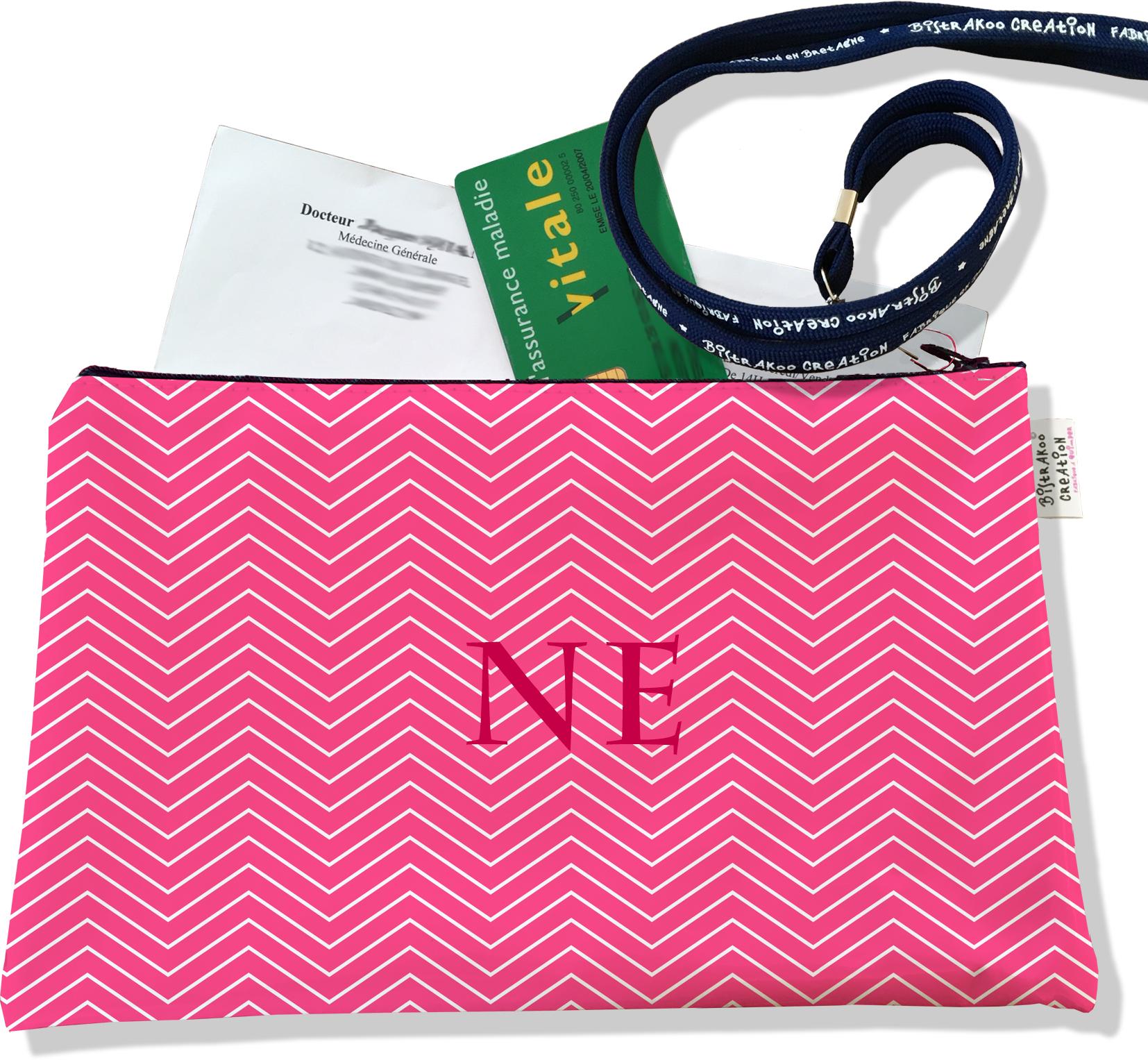 Porte ordonnances personnalisable zippé pour femme motif Chevrons