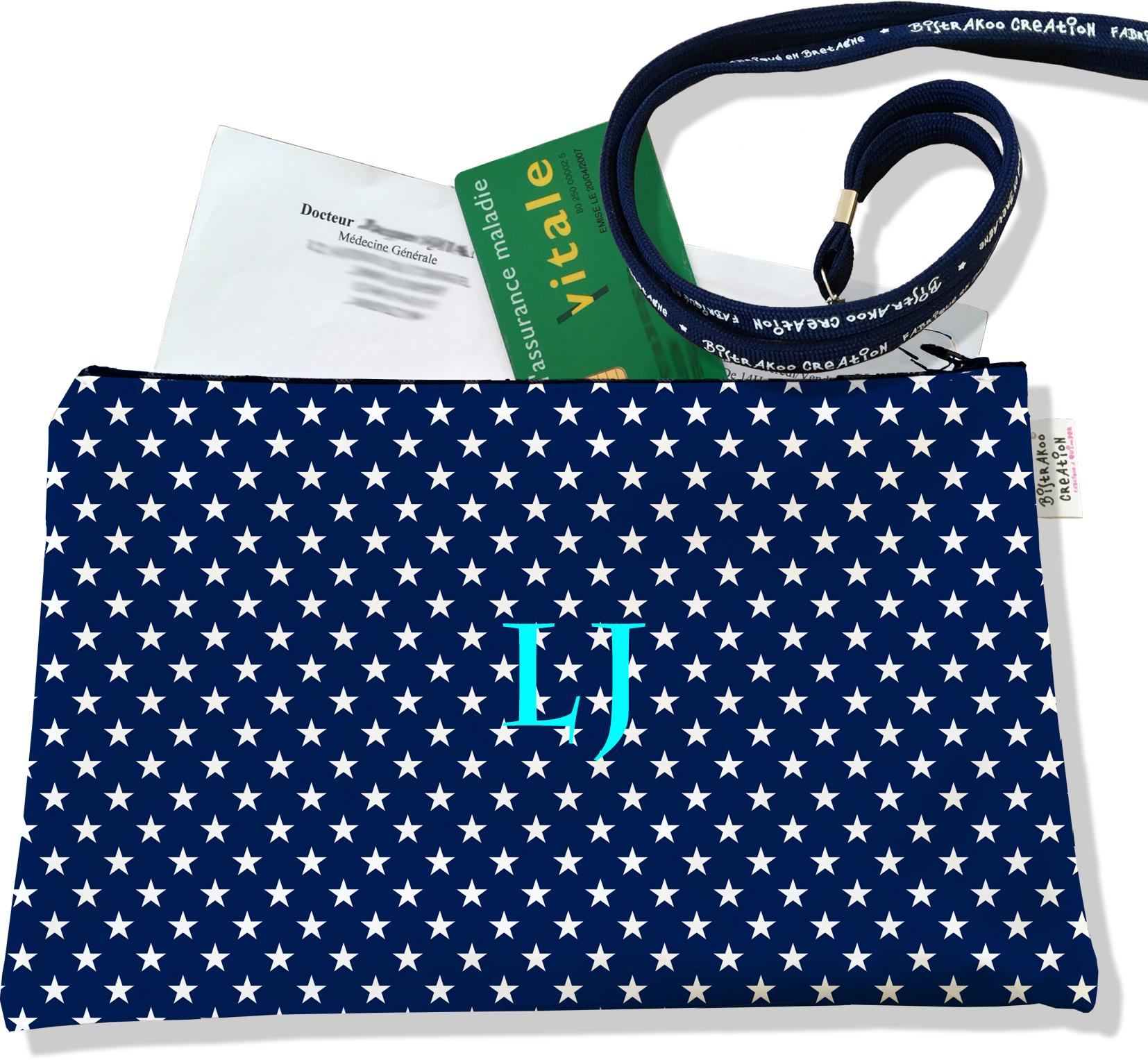 Porte ordonnances personnalisable zippé pour femme motif Etoiles