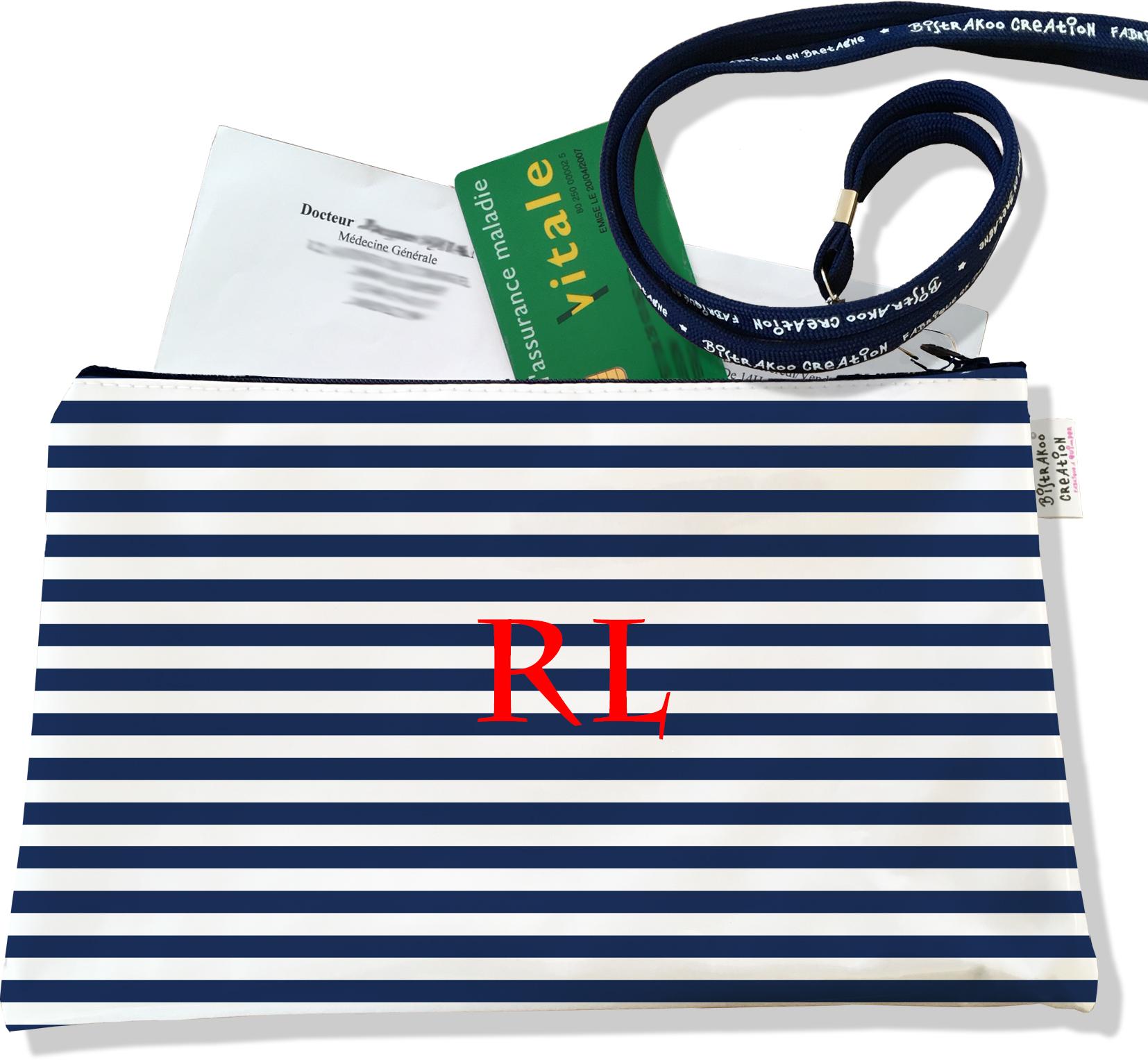 Porte ordonnances personnalisable zippé pour homme motif Marinière