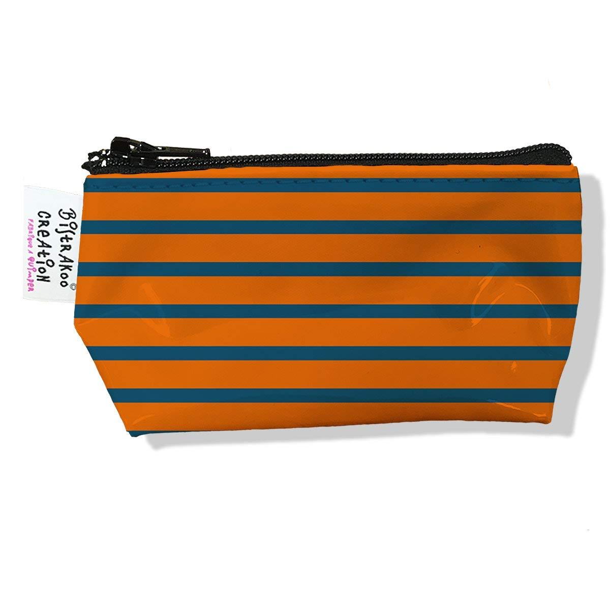Porte monnaie bourse pour homme motif Marinière orange et grise 2401
