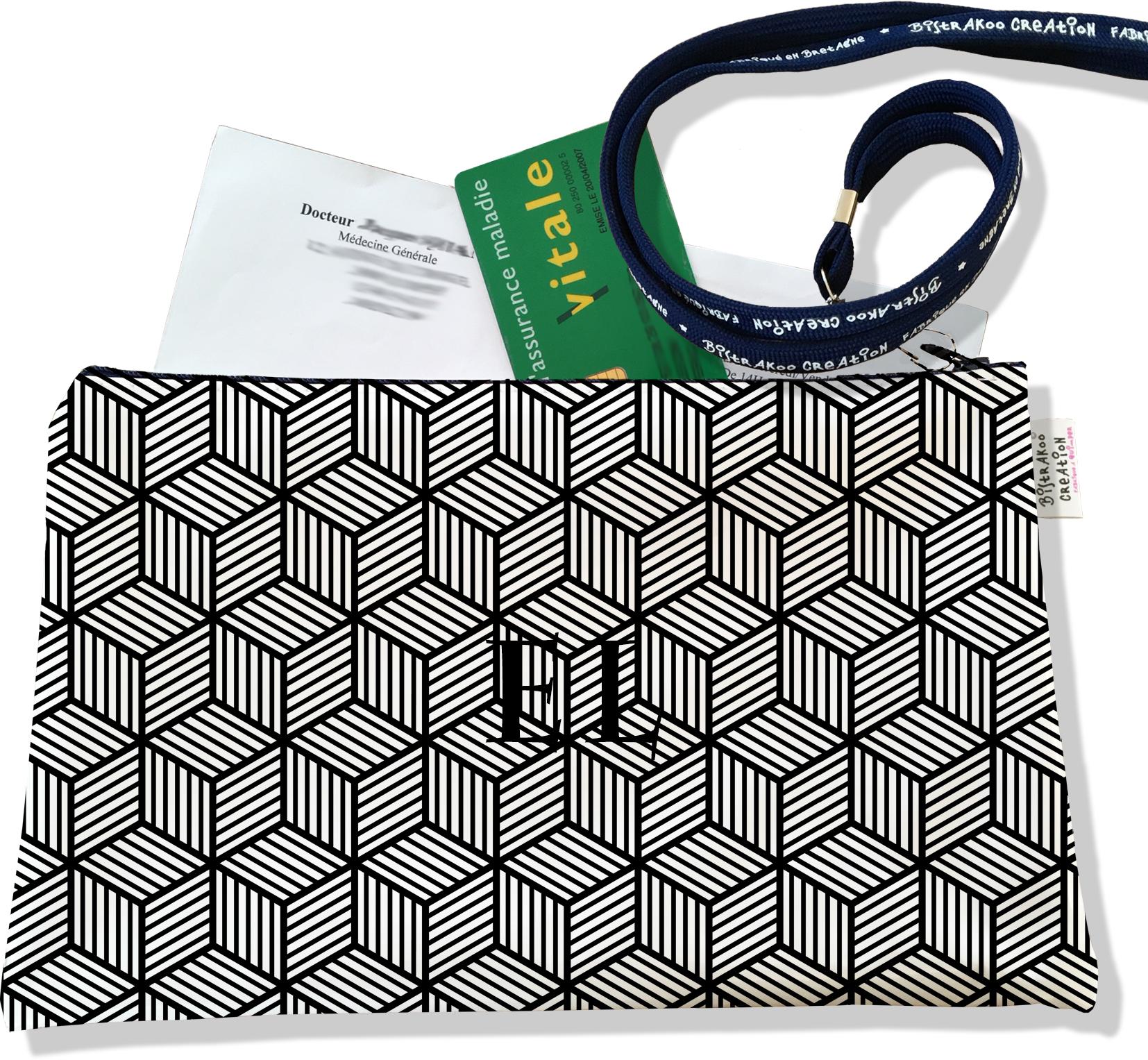 Porte ordonnances personnalisable zippé pour homme motif Graphique