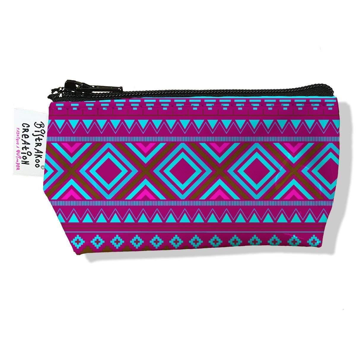 Porte monnaie bourse pour femme motif Aztec rose violet et bleu 2506