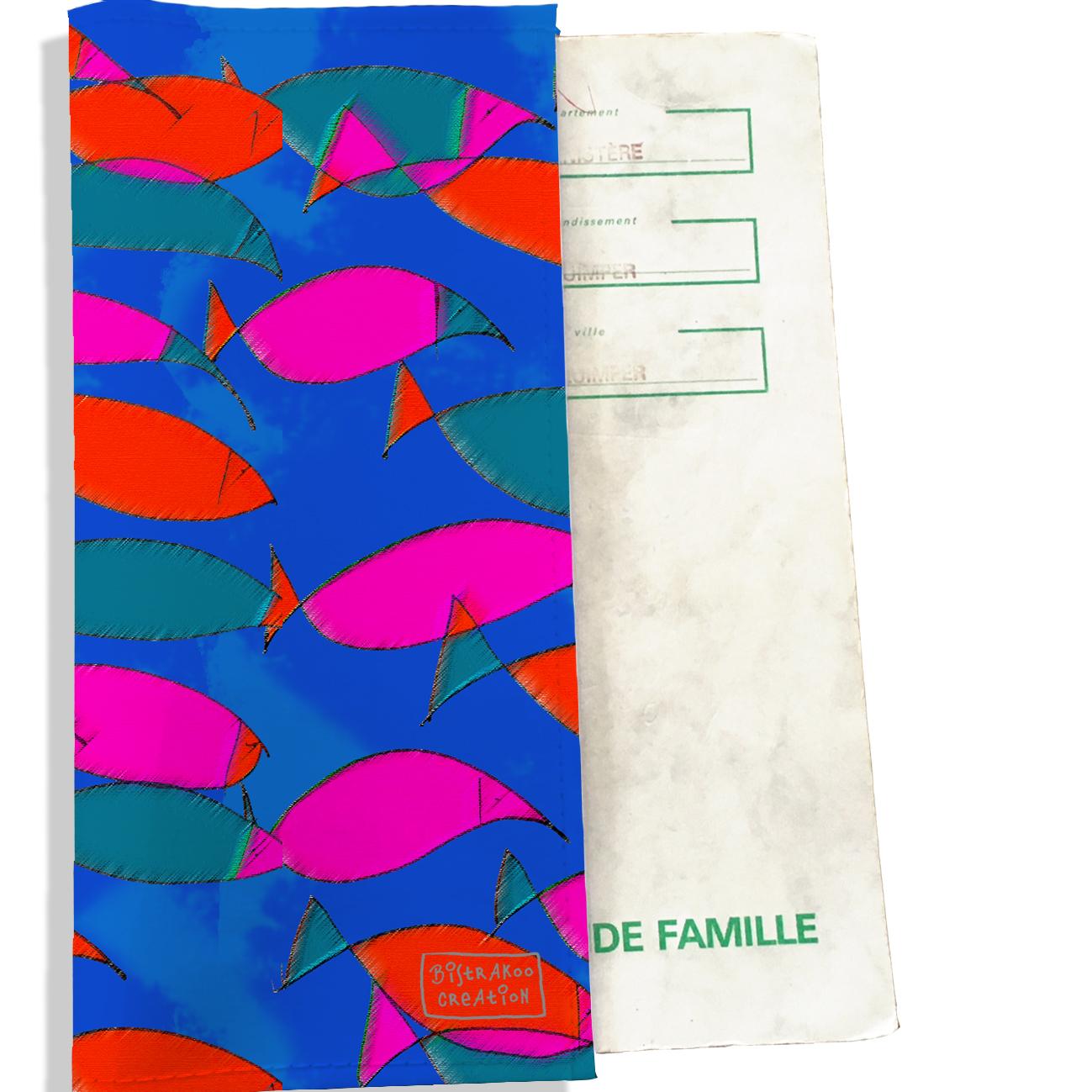 Protège livret de famille motif Banc de poissons