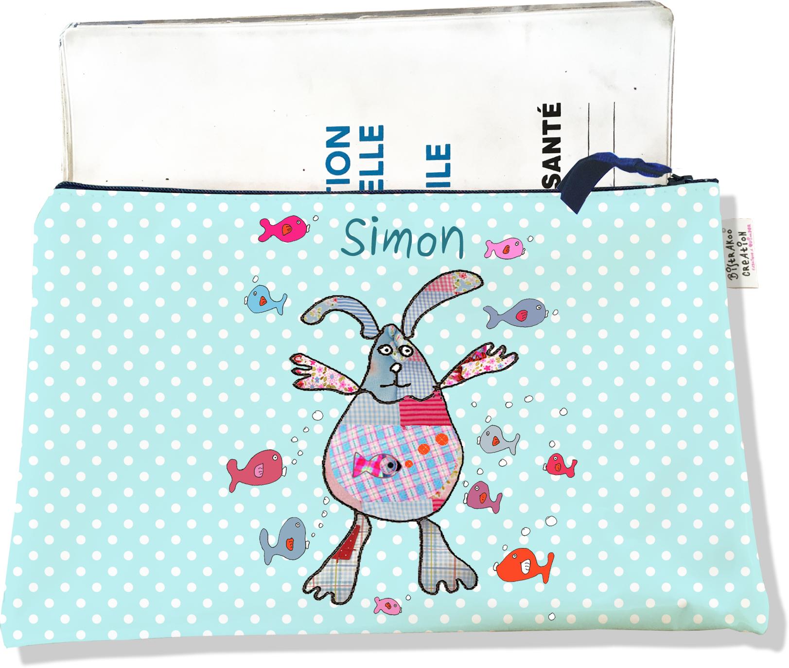 Protège Carnet de Santé personnalisable zippé pour bébé garçon motif Doudous aquarium