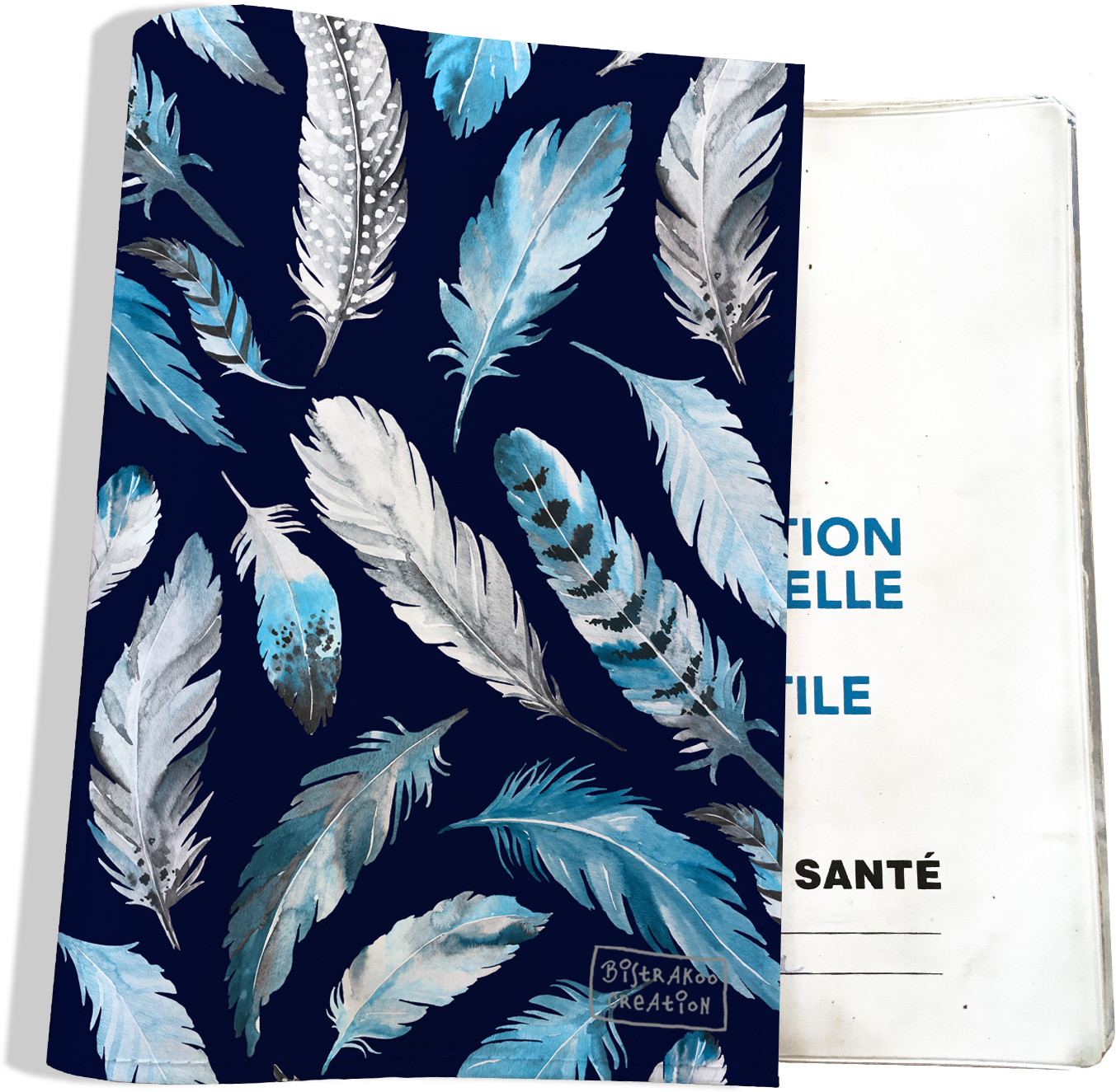 Protege carnet de sante motif Plumes grises et bleues
