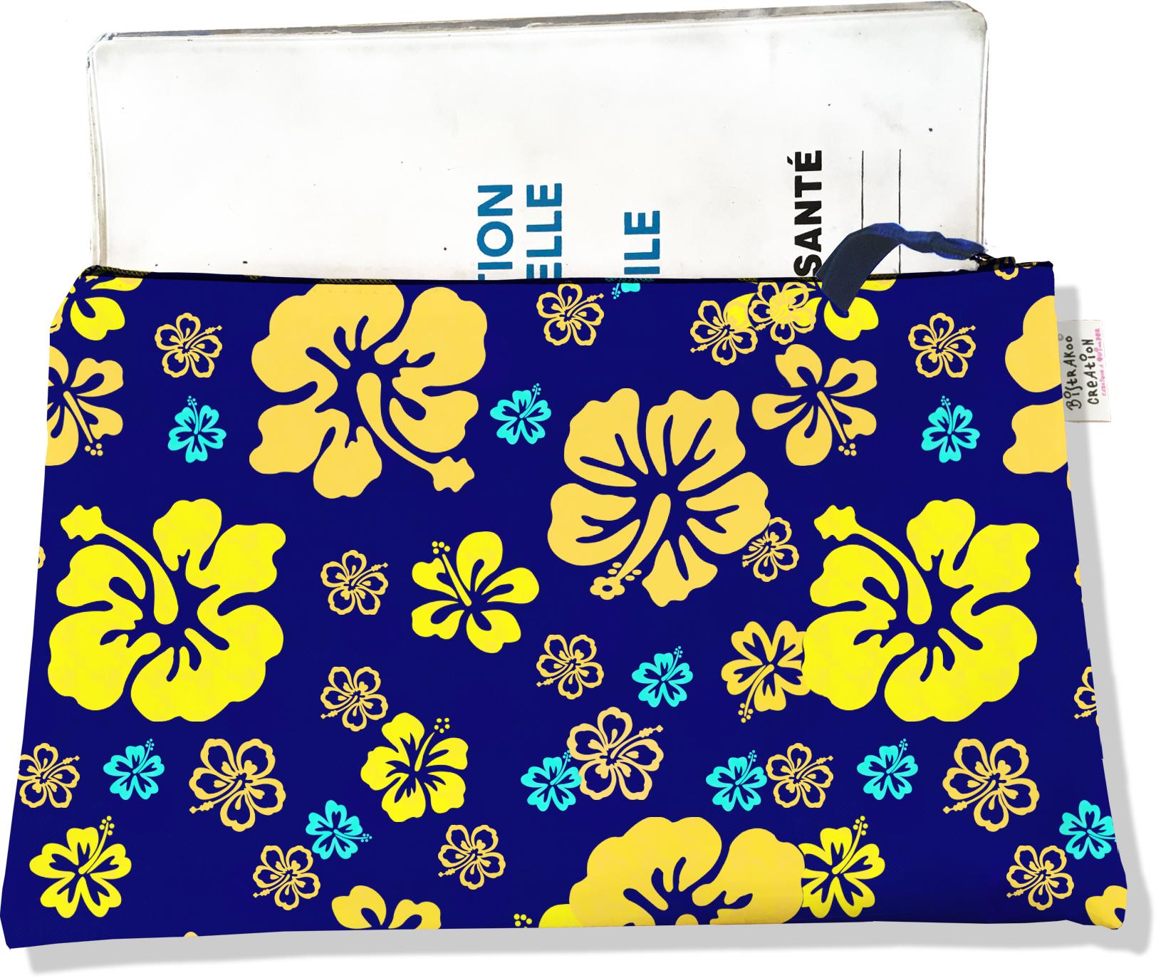Protège carnet de santé zippé pour femme motif Hibiscus jaune PCZ5055