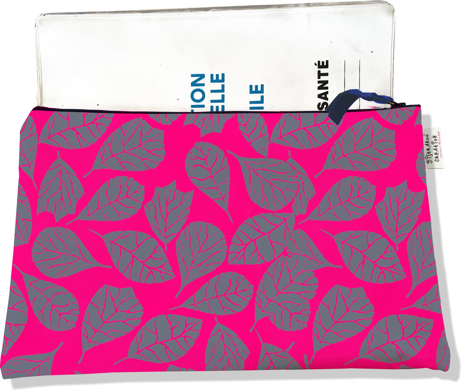 Protège carnet de santé zippé pour femme motif Feuillage PCZ6024