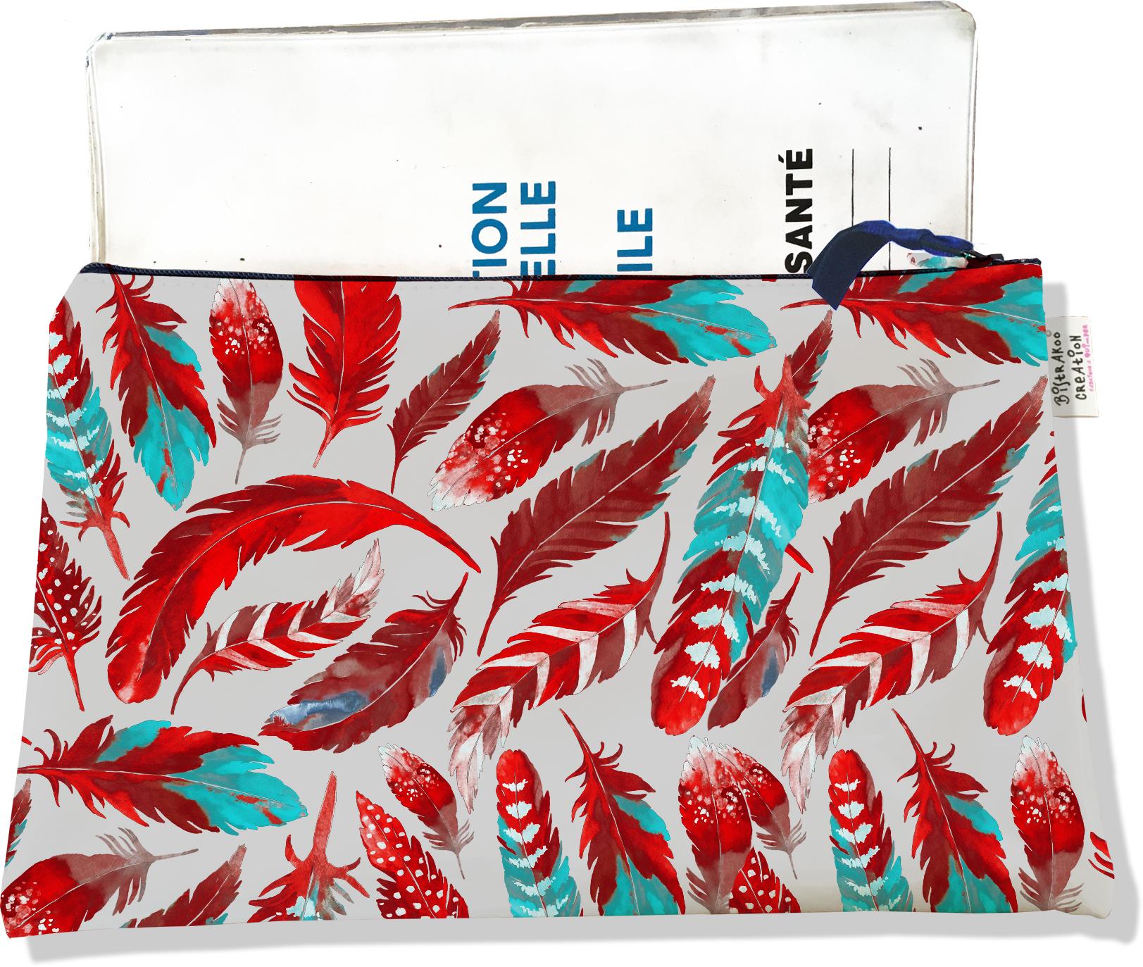 Protège carnet de santé zippé pour femme motif Plumes rouges PCZ6027
