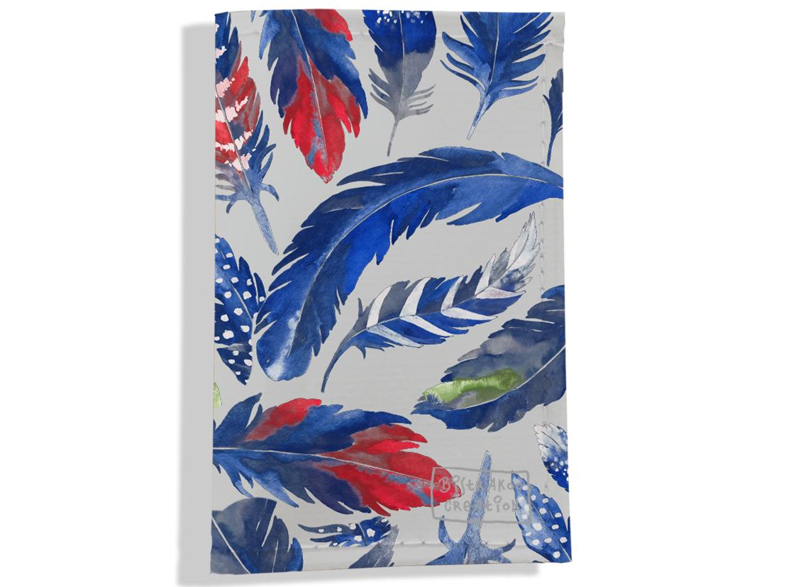 Porte carte grise pour femme motif Plumes bleues PCG6026